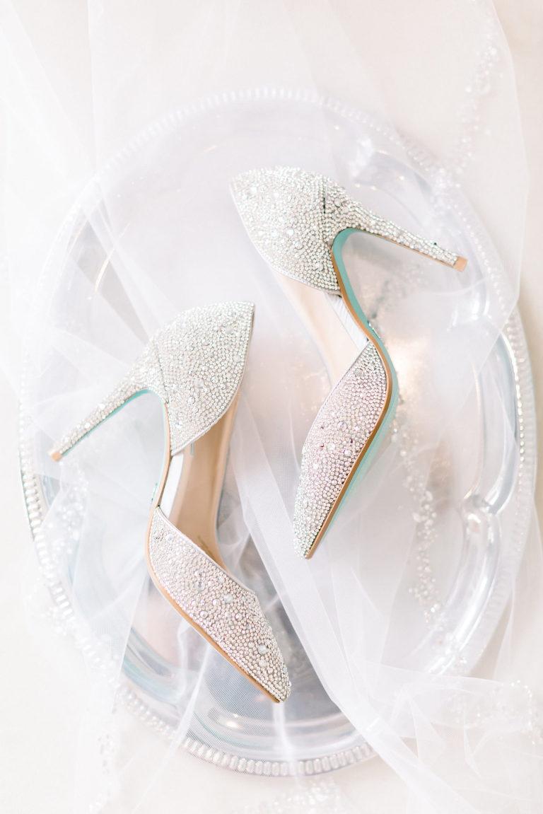 Bridal Rhinestone Pointed Toe with Blue Bottom Wedding Heel Shoes   Tampa Wedding Photographer Shauna and Jordon Photography