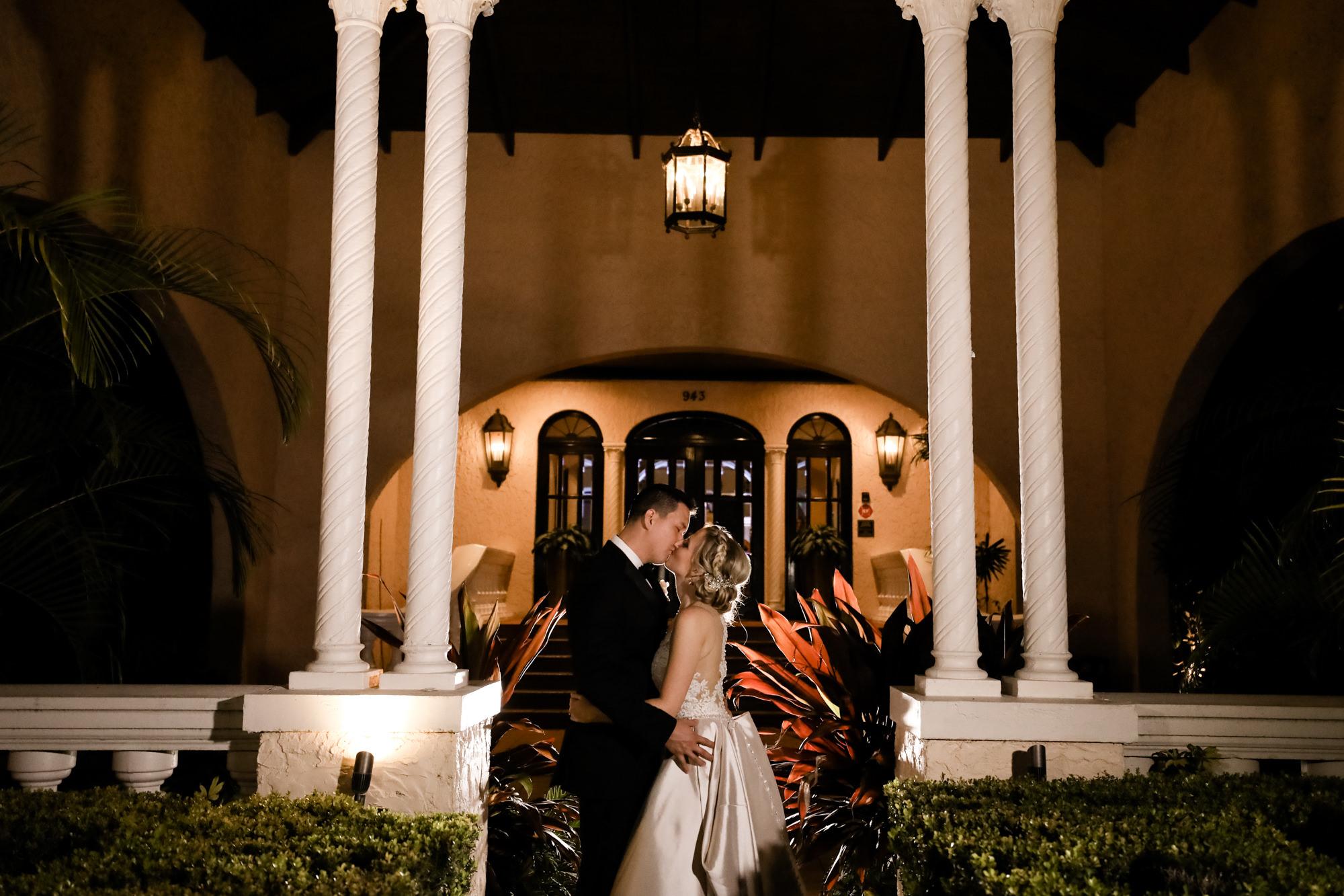 Tampa Wedding Venue Avila Golf & Country Club | Outdoor Twilight Nighttime Bride and Groom Wedding Portraits | Tampa Bay Wedding Photographer Lifelong Photography Studio