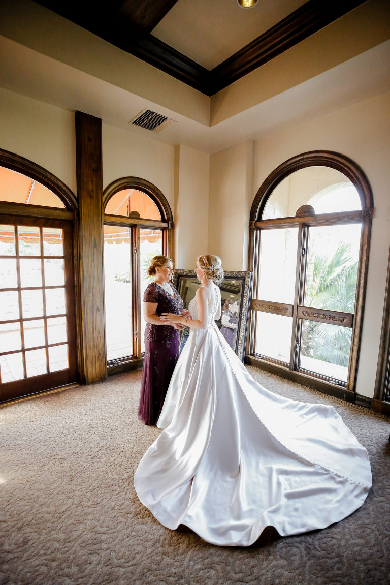 Bride and Mom First Look Wedding Portrait   White Allure Ballgown Wedding Dress with Long Train