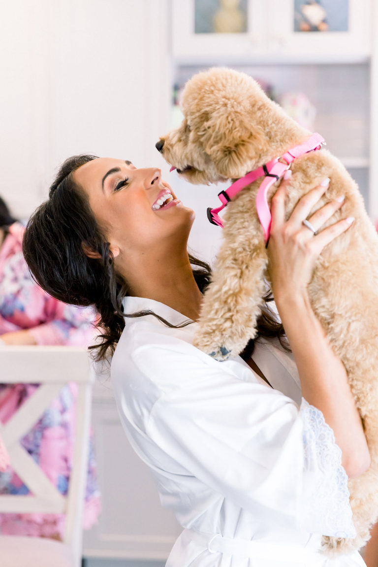 Florida Bride Getting Wedding Ready with Pet Dog Poodle Portrait   Tampa Wedding Photographer Shauna and Jordon Photography   Pet Planner FairyTail Pet Care
