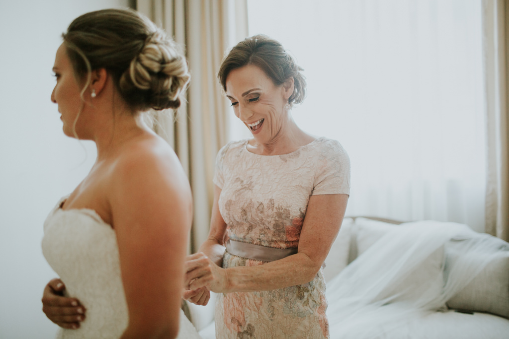 Mother of the Bride Blue Pink Floral Dress | Mom Helping the Bride Get Dressed | Bride Getting Ready