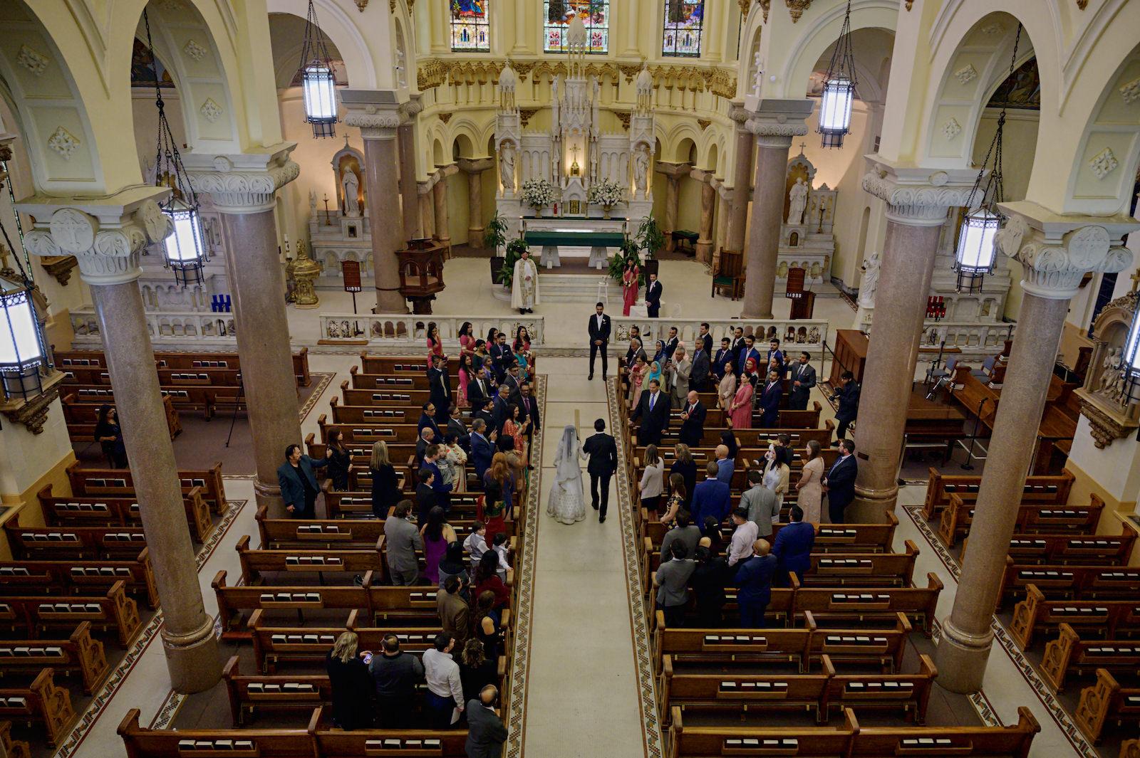 Florida Bride and Father Walk Down the Aisle, Birds Eye View of Catholic Wedding Ceremony at Sacred Heart Catholic Church