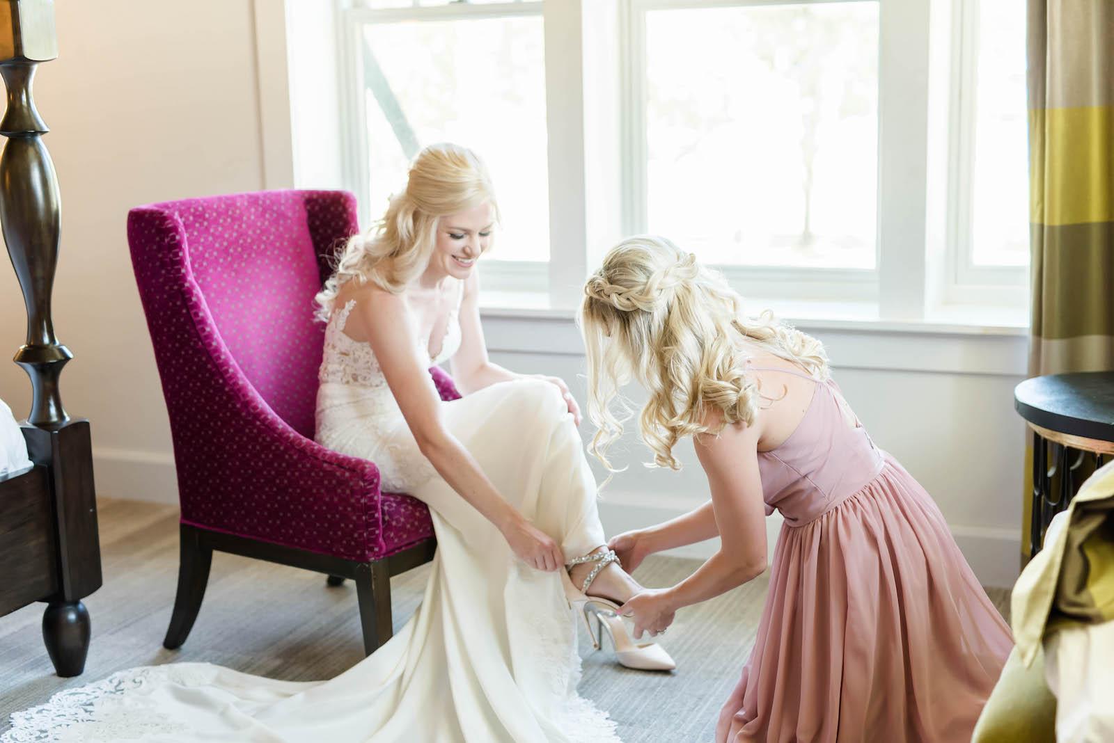 Bride Getting Ready Shot   Stella York Lace Sheath Spaghetti Strap Empire Waist Wedding Dress Bridal Gown