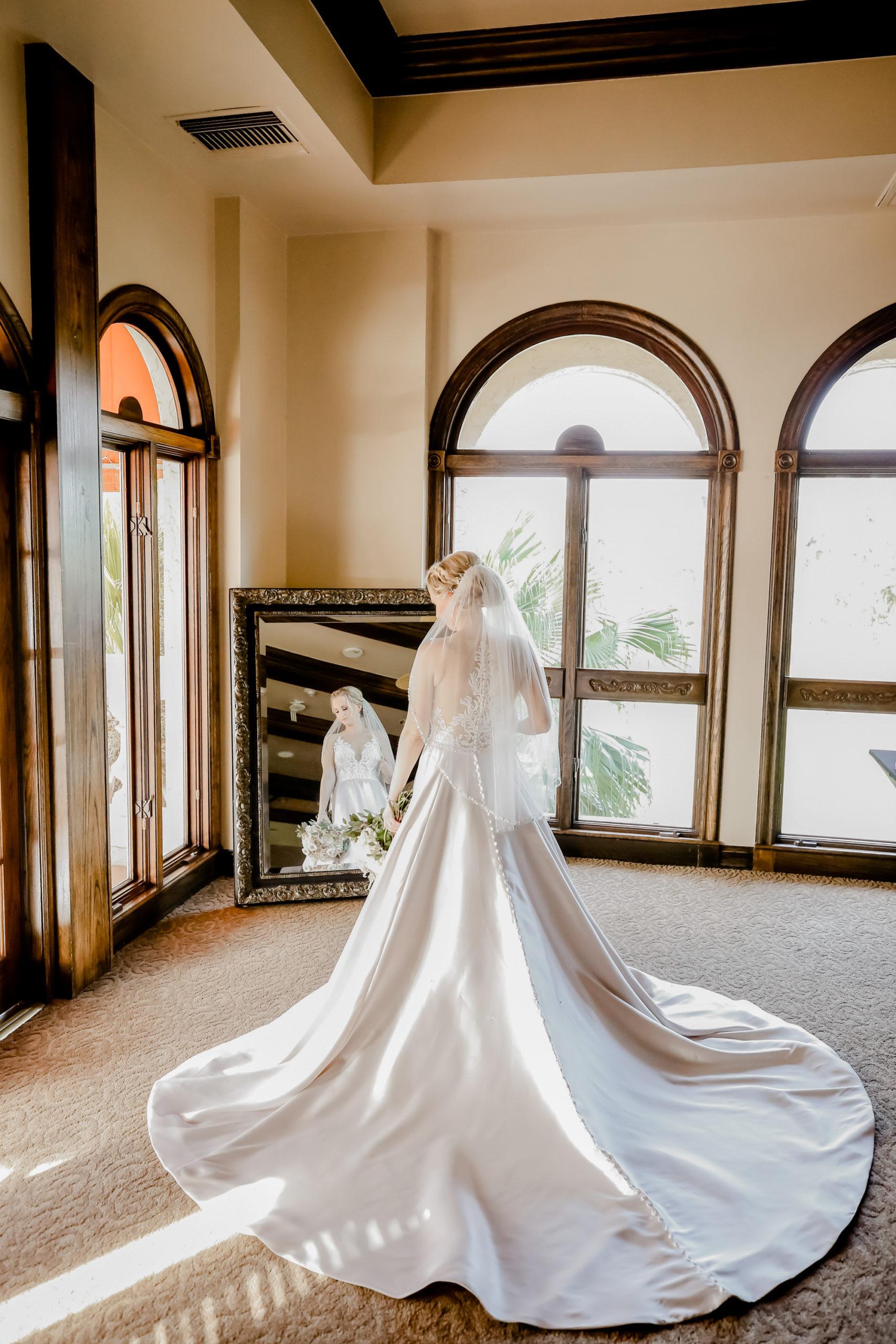 White Allure Ballgown Wedding Dress with Long Train | Tampa Bay Wedding Photographer Lifelong Photography Studio