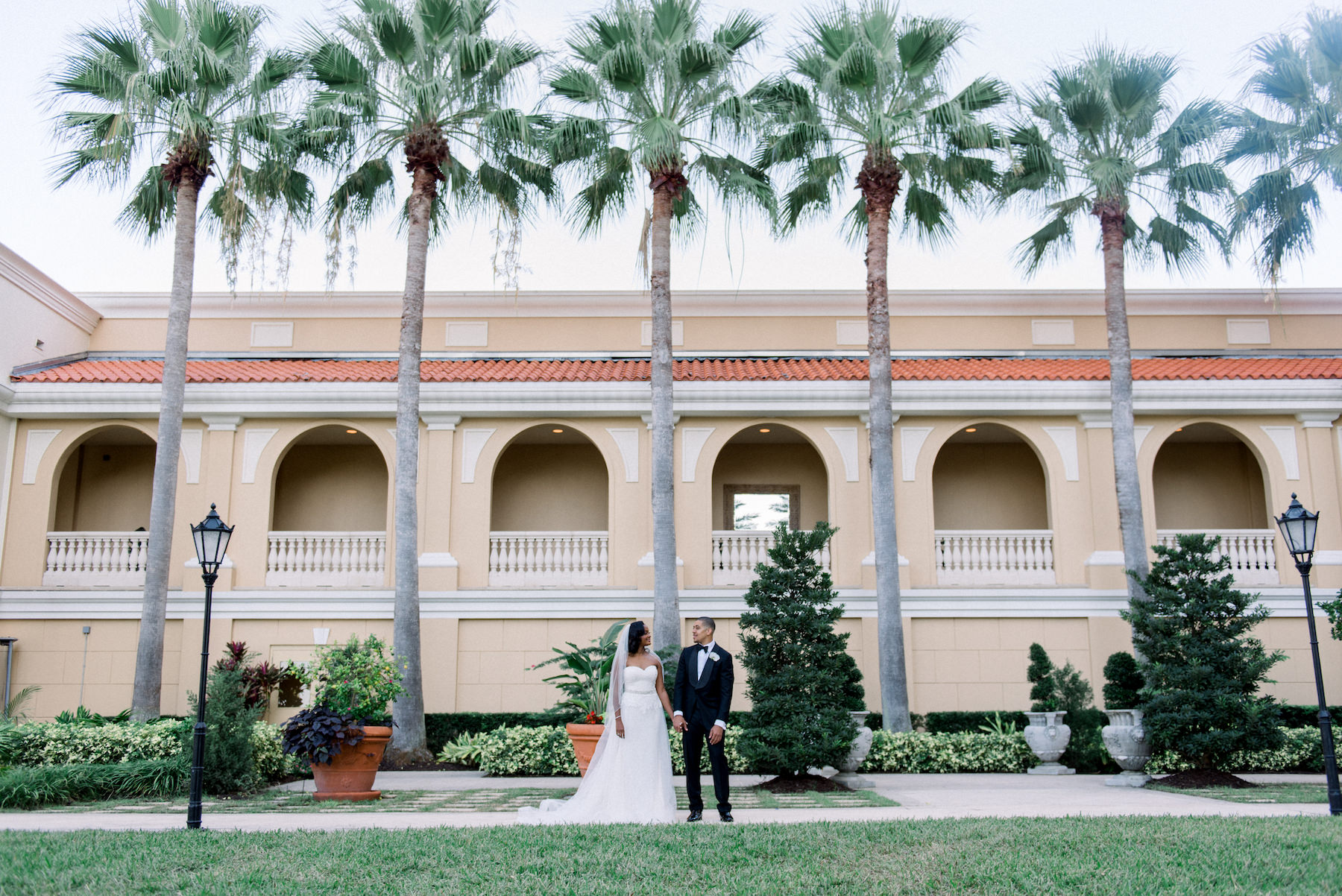 Classic Bride and Groom Wedding Portrait Outside Hotel Wedding Venue Ritz Carlton Sarasota