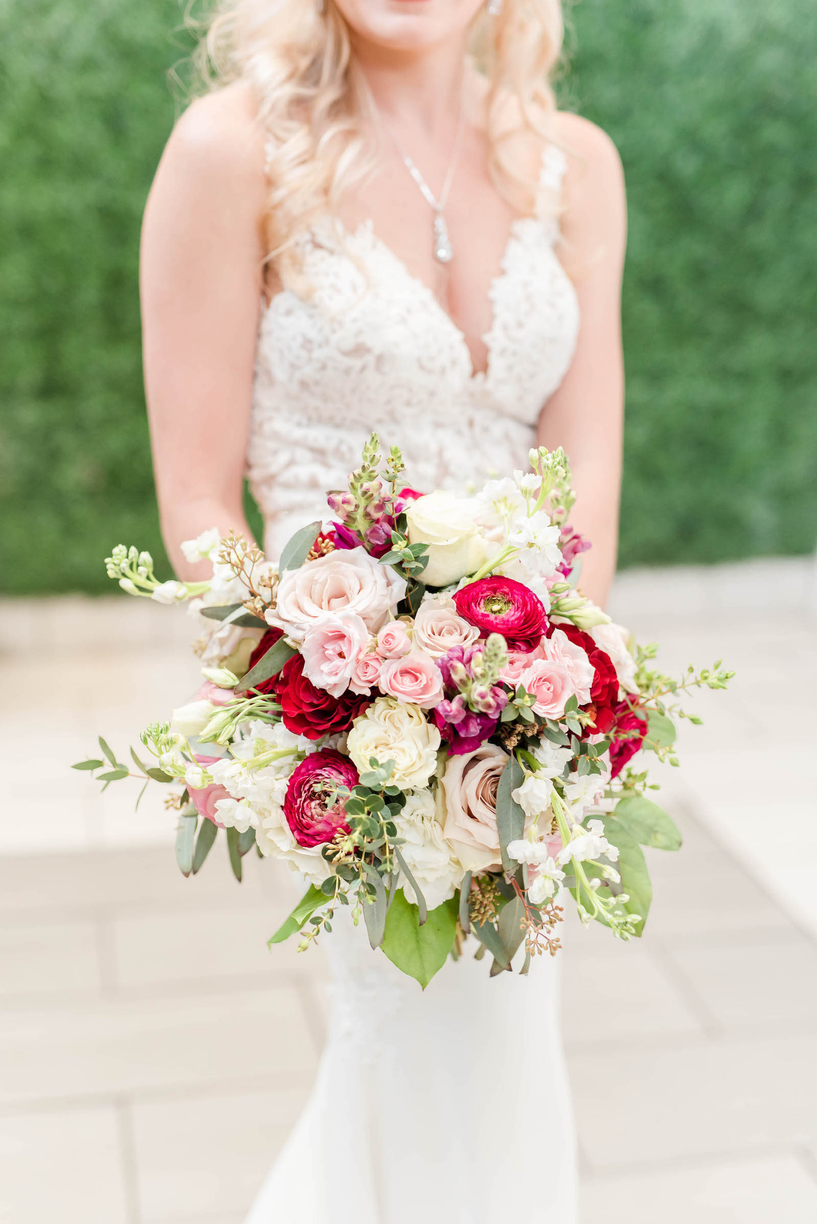 Bridal Portrait Bouquet Shot   Stella York Lace Sheath Spaghetti Strap Empire Waist Wedding Dress Bridal Gown   Bride Wedding Bouquet with Blush Pink Dusty and Burgundy Rose Garden Roses, Snapdragons, Stock, and Eucalyptus Greenery