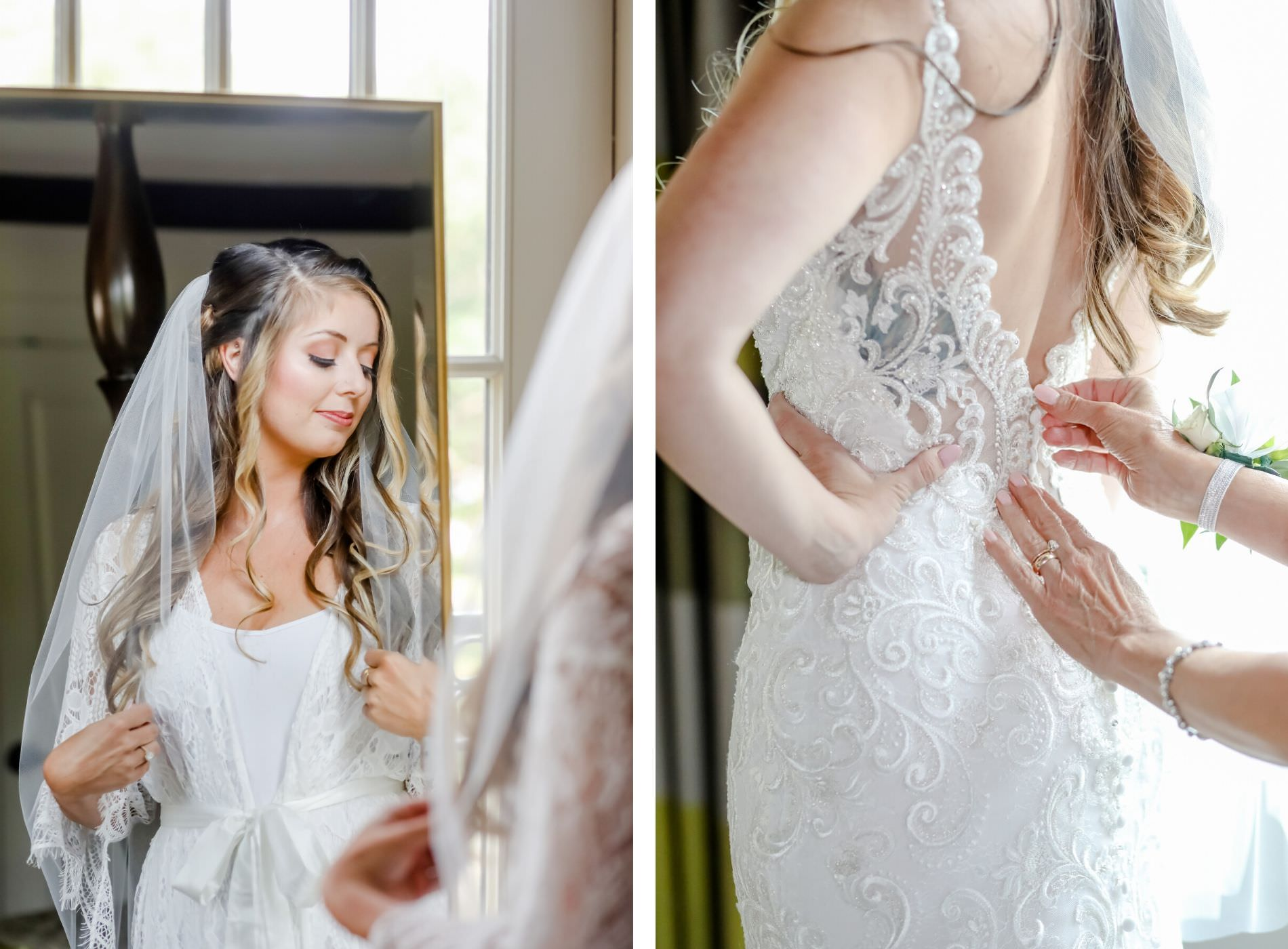 Elegant Bride Getting Ready Detail Shot, Tampa Bay Bride in Back of Lace of Allure Gown with Sheer Detailing Wedding Dress   Downtown St. Pete Wedding Hair and Make Up Artists Michele Renee The Studio   Tampa Bay Wedding Photographer Lifelong Photography Studio
