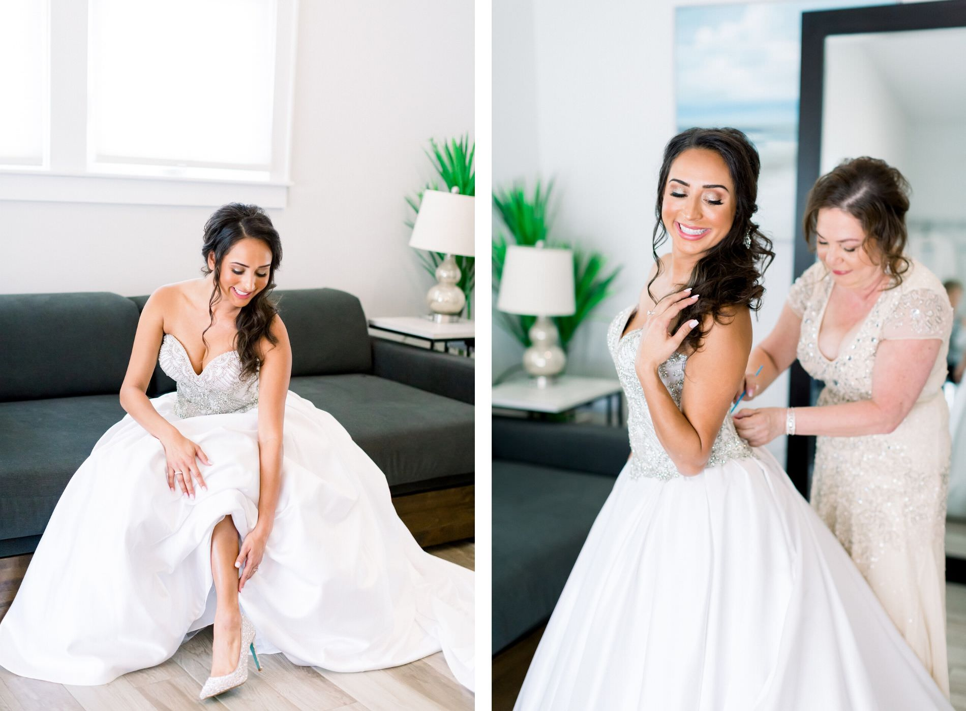Florida Bride Getting Ready with Mom in Strapless Sweetheart Rhinestone Bodice and Ballgown Skirt Wedding Dress | Tampa Bay Wedding Photographer Shauna and Jordon Photography | Wedding Dress Truly Forever Bridal