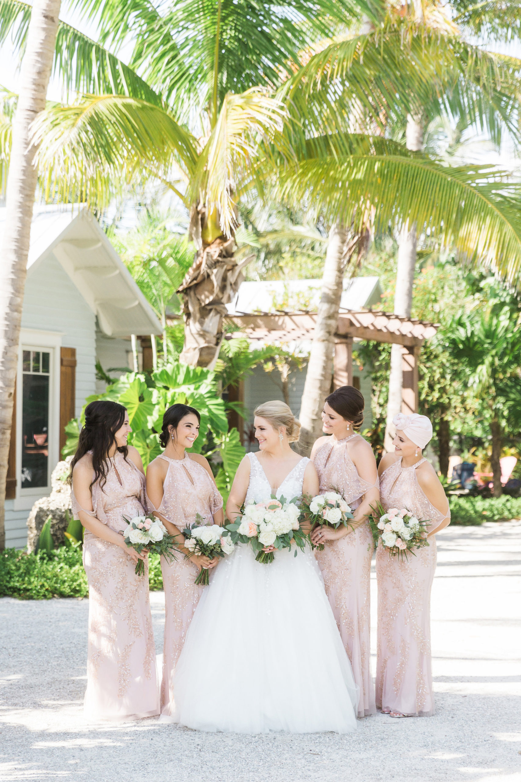 Shimmery Sequined Champagne and Blush Pink Bridesmaids Dresses | Nicole Spose A-Line Wedding Dress | Glamorous Wedding Dress Attire