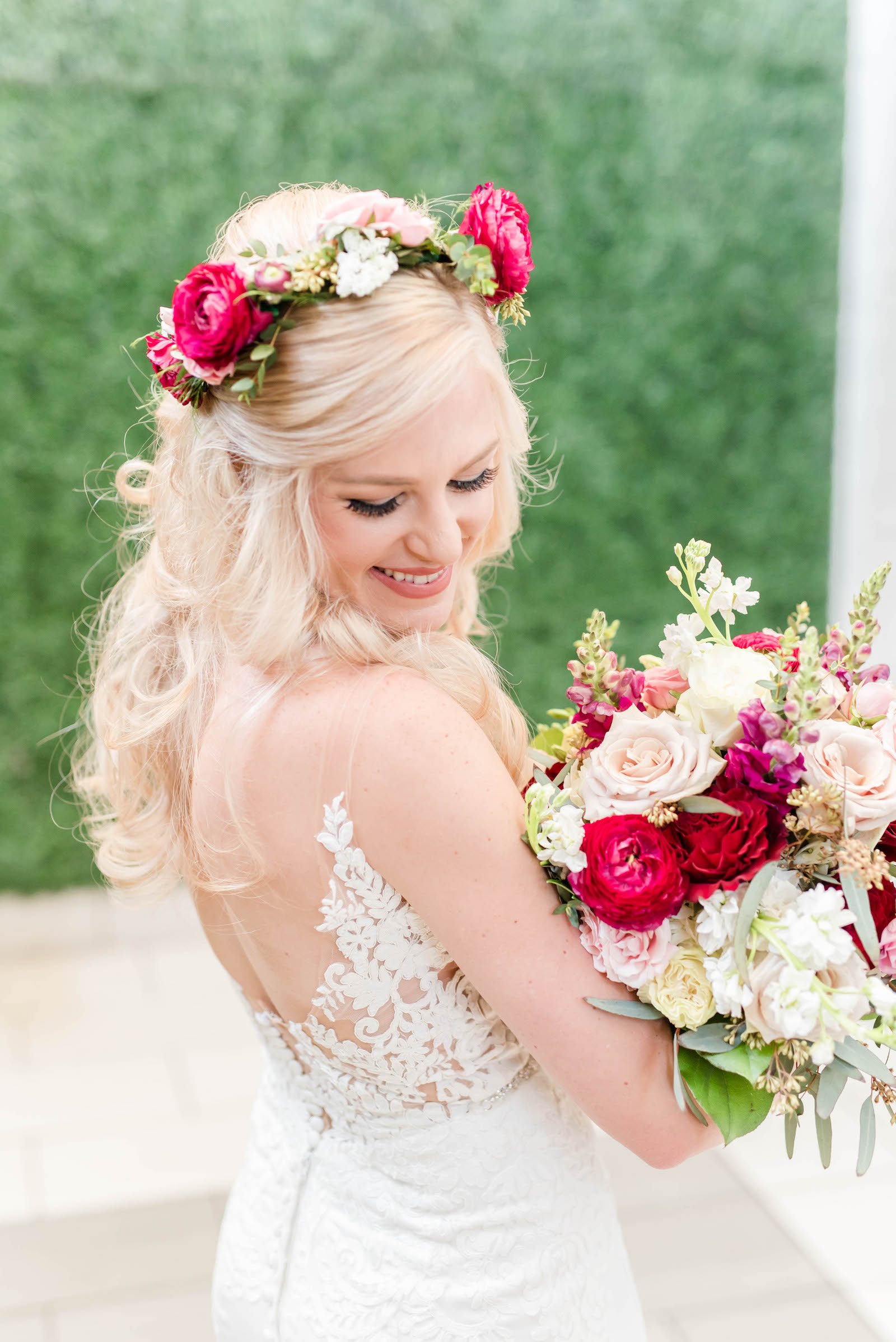 Bridal Portrait Bouquet Shot   Stella York Lace Sheath Spaghetti Strap Empire Waist Wedding Dress Bridal Gown   Bride Wedding Bouquet and Halo Crown with Blush Pink Dusty and Burgundy Rose Garden Roses, Snapdragons, Stock, and Eucalyptus Greenery