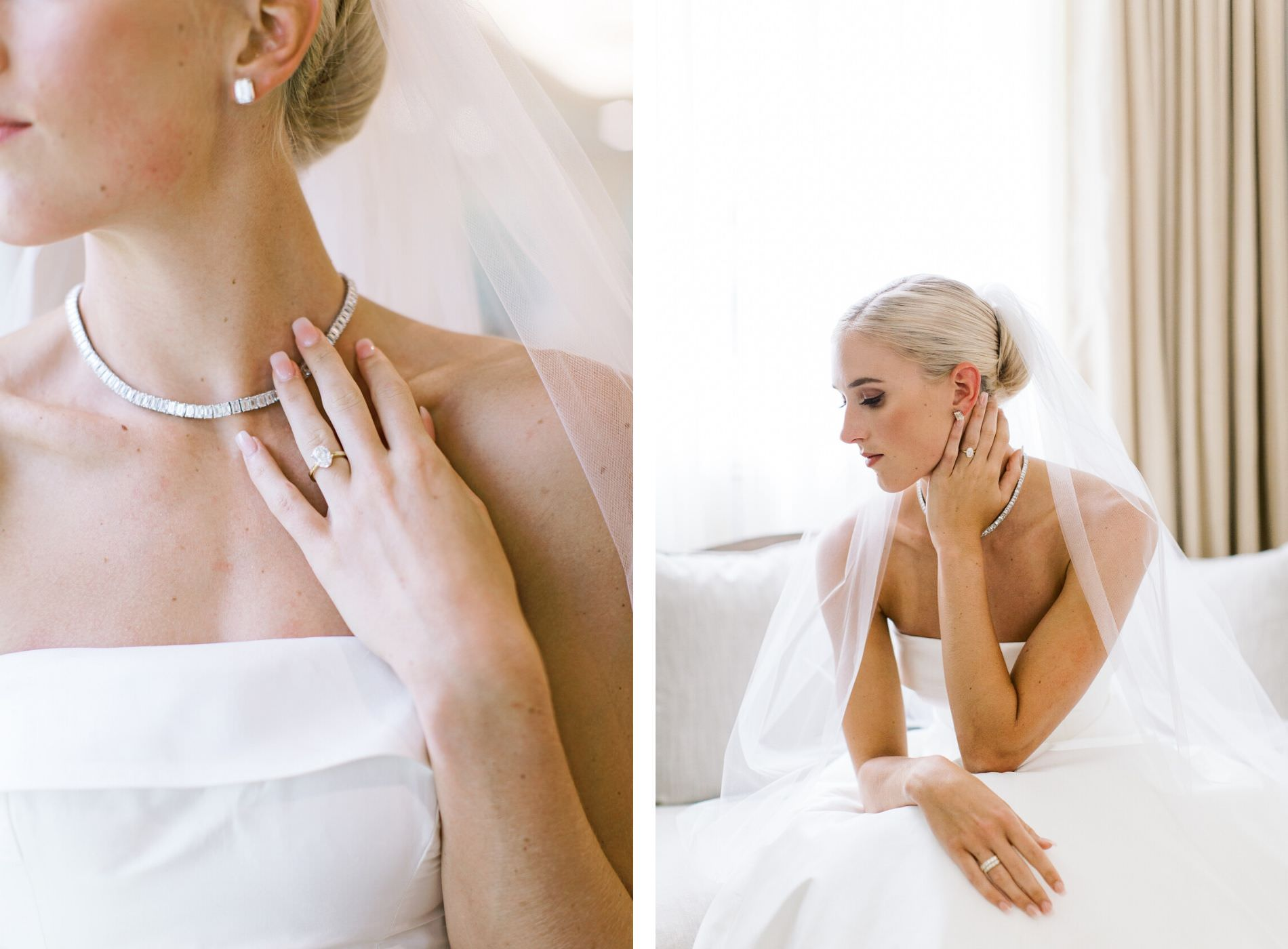 Classic Tampa Bride Getting Ready Wedding Portrait Wearing Diamond Choker Necklace