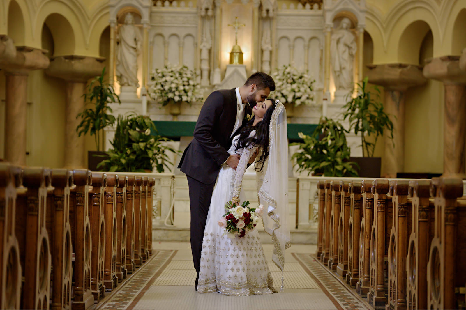 Indian Bride and Groom Church Cathedral Portrait | Indian Catholic Wedding | Florida Multicultural Wedding Ceremony | Catholic Wedding Ceremony at Sacred Heart Catholic Church