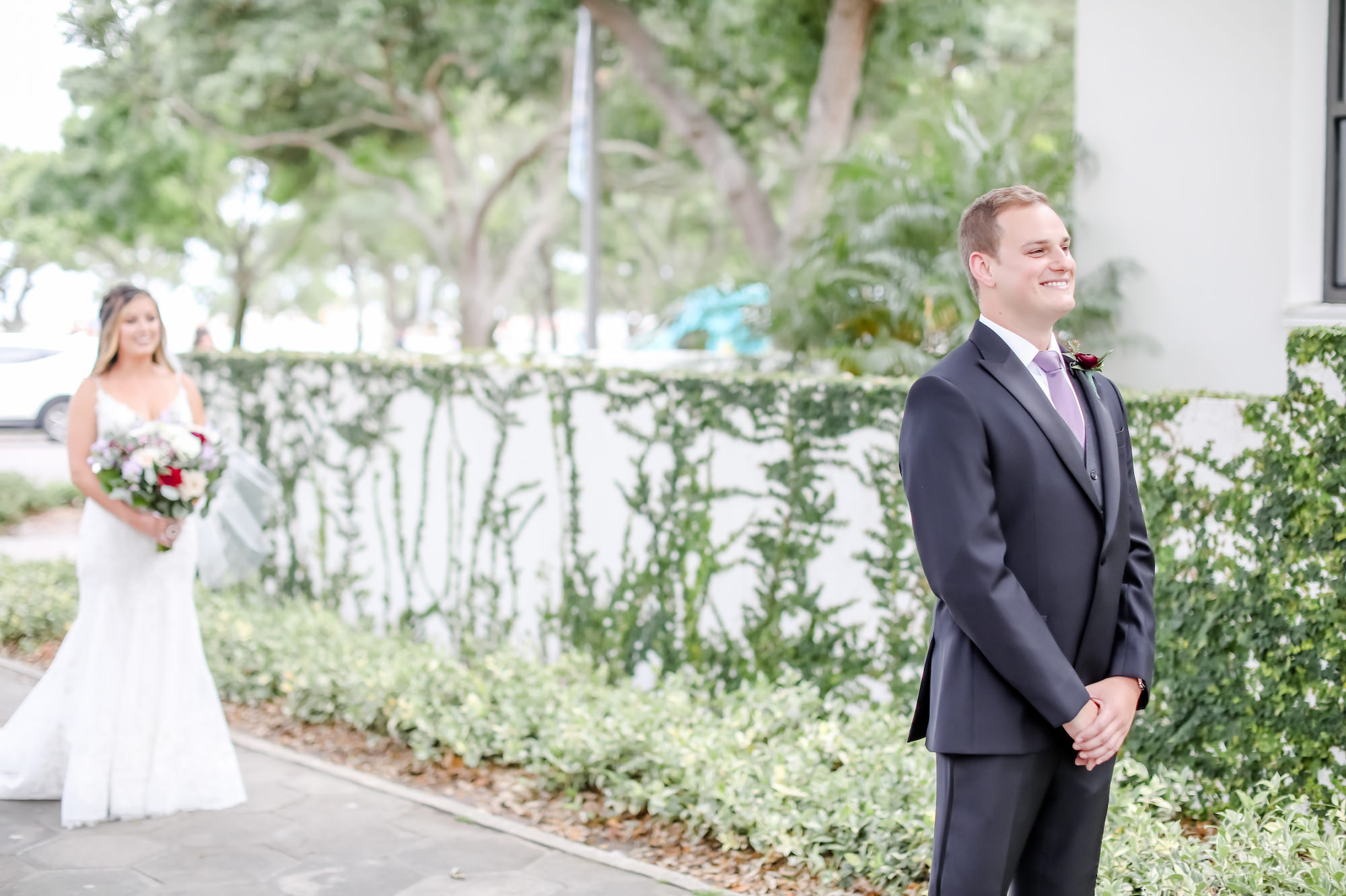 Downtown St. Pete Bride and Groom First Look Portrait, Groom in Mauve Tie   Florida Wedding Photographer Lifelong Photography Studio   Tampa Bay Wedding Venue The Birchwood