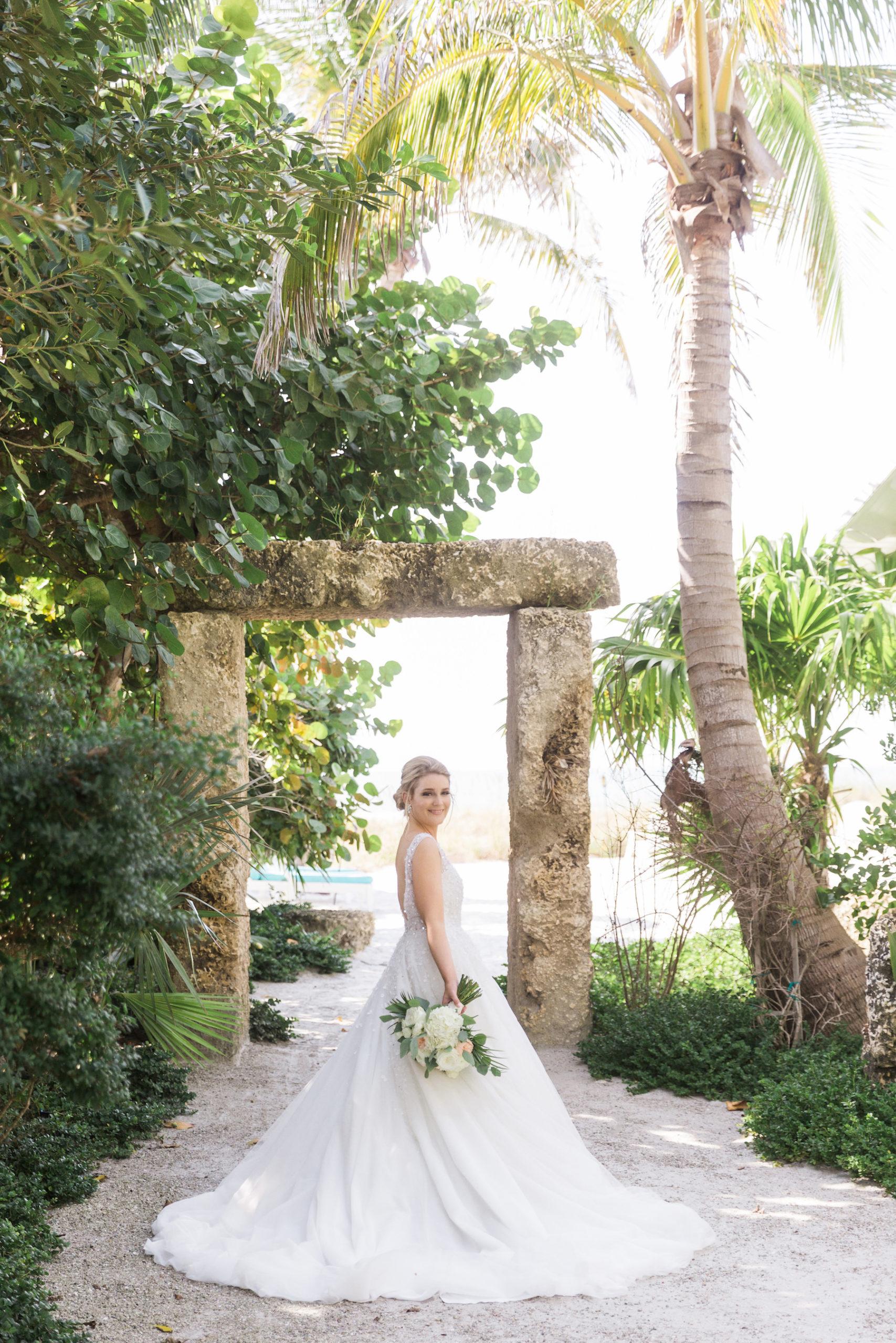 Nicole Spose A-Line Wedding Dress with Embellishments | Tropical Sarasota Florida Wedding