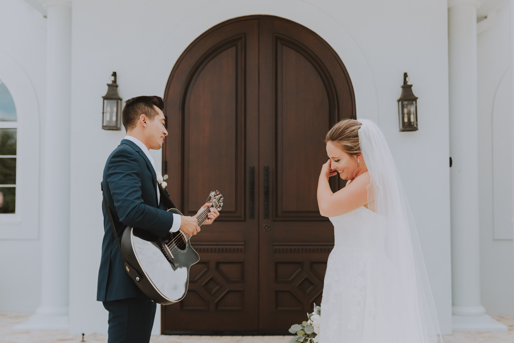 Unique Bride and Groom First Look | Goom Classic Black Tux | Lace Wedding Gown with Long Cathedral Veil