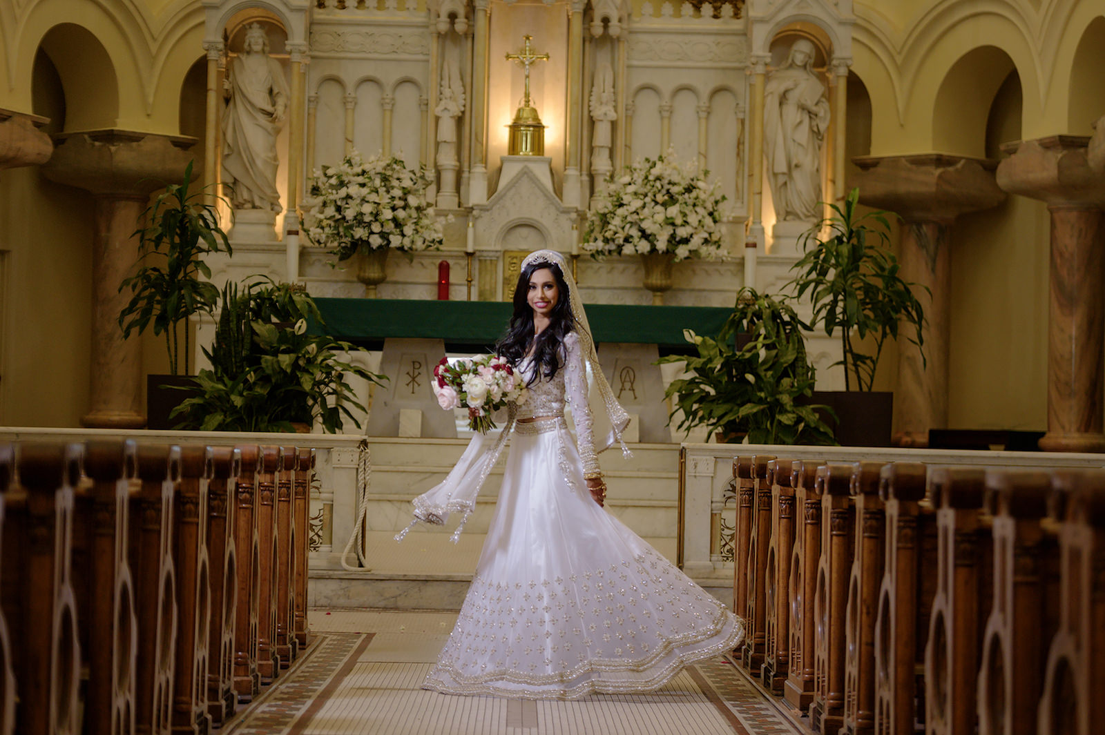 Fusion Indian Wedding Gown Bridal Church Cathedral Portrait | Indian Catholic Wedding | Florida Multicultural Wedding Ceremony | Catholic Wedding Ceremony at Sacred Heart Catholic Church | Wedding Hair and Makeup Artist Michele Renee the Studio