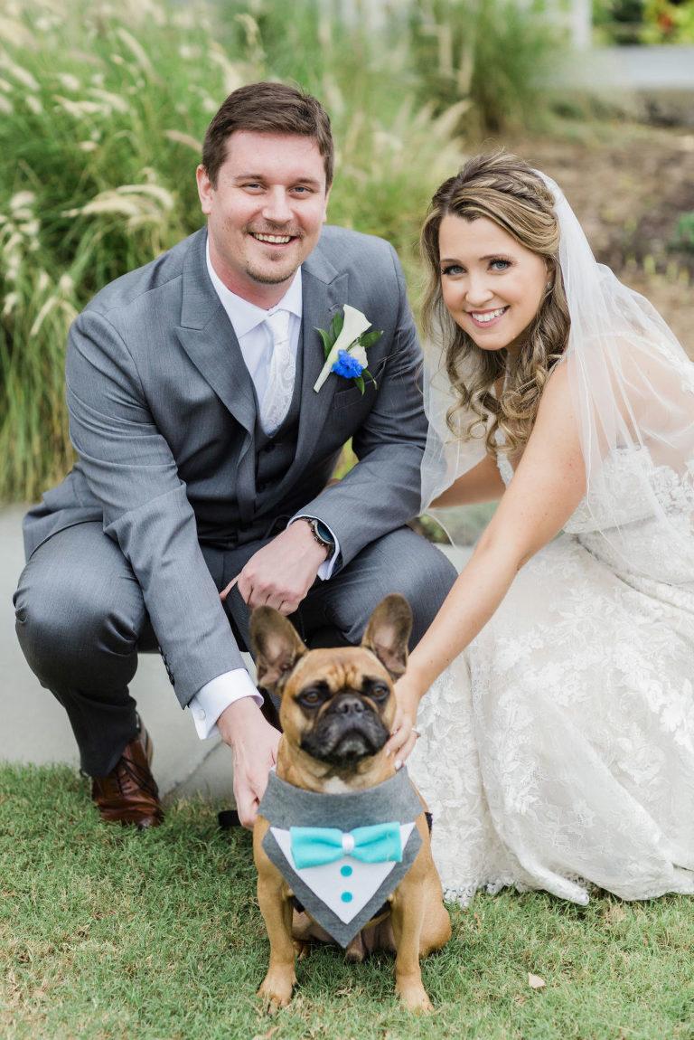 Bride and Groom Wedding Portraits with Pet Dog   Wedding Dog of Honor   Dog Wedding Bandana Bow Tie   Wedding Dog of Honor   Dog Bandana Bow Tie   Tampa Bay Pet Planner Fairytail Pet Care