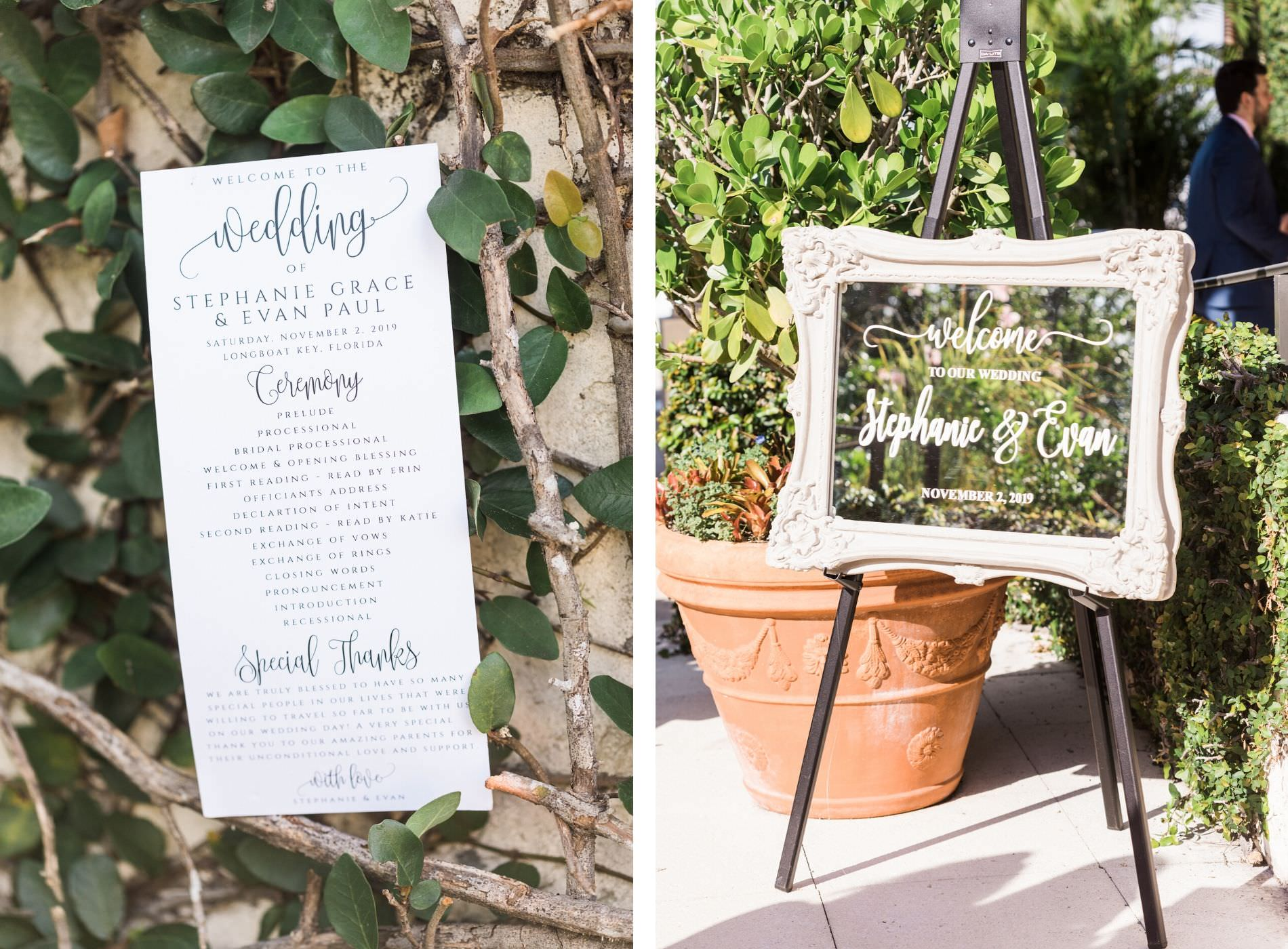 Wedding Welcome Mirror and Modern Ceremony Program