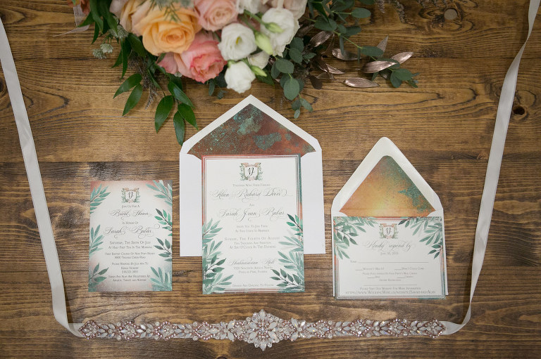 Watercolor Greenery Leaves, Copper and Patina with Gold Foil Envelope Wedding Invitation Suite, Rhinestone Bridal Belt | Wedding Photographer Carrie Wildes Photography