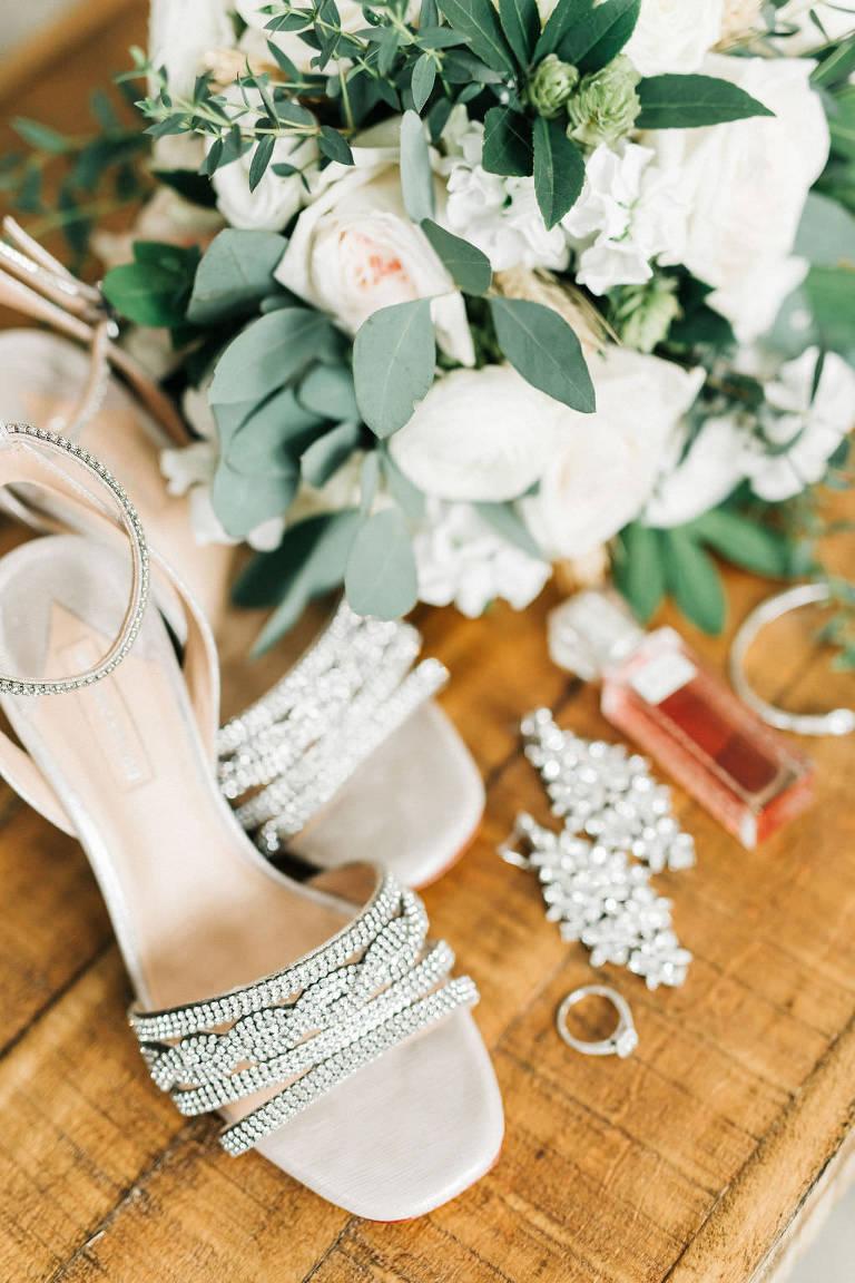 Florida Wedding Details, Rhinestone Embellished Open Toed High Heel Shoes, White Bridal Bouquet