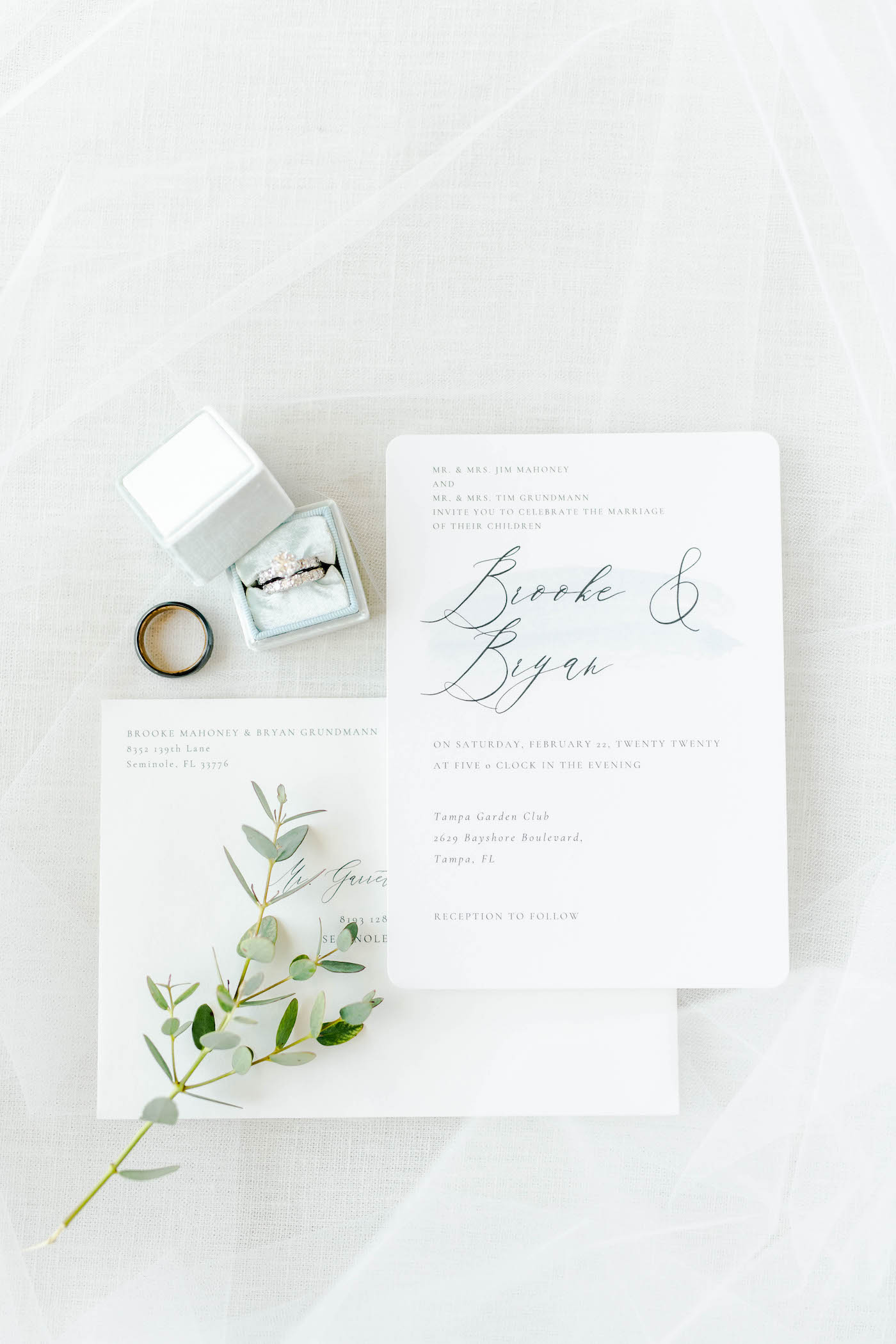 Simple Classic Wedding Invitation Stationery Suite with Dusty Blue Grey Calligraphy