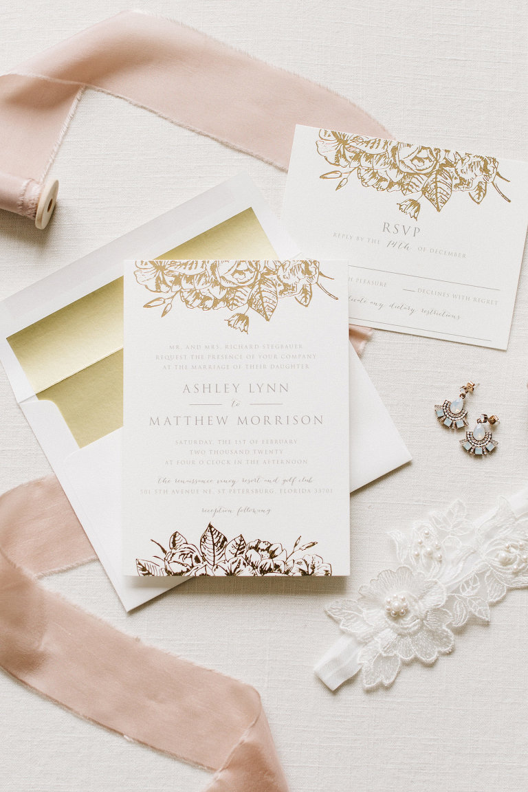 Elegant Florida Wedding Invitation Suite, Ivory, White and Gold Stationary with Rose Gold Foil Floral Detailing, Blue Boho Chic Earrings, White Lace Garter | Tampa Bay Luxury Wedding Planner Parties A' La Carte