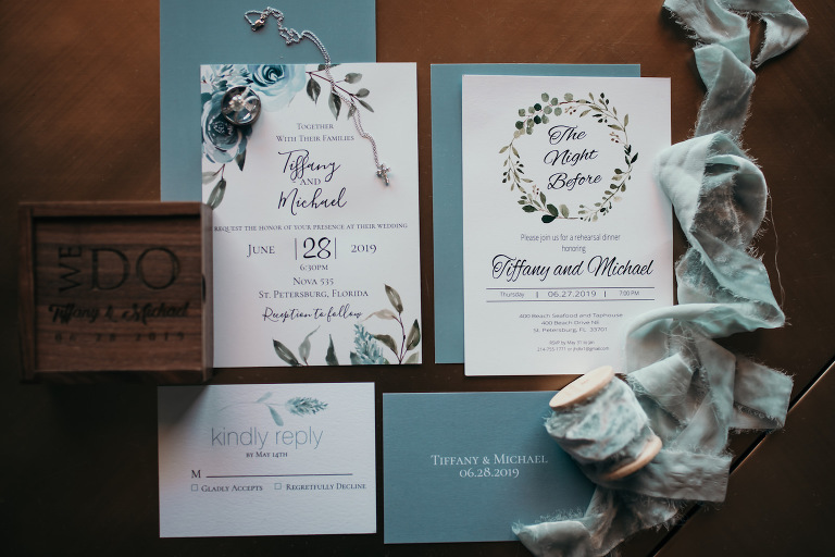 Elegant Dusty Blue Wedding Invitation Suite with Watercolor Floral and Greenery Accents