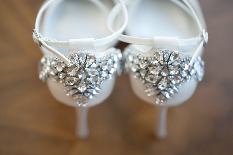White Bridal with Chunky Rhinestone Heel Wedding Shoes | Wedding Photographer Carrie Wildes Photography