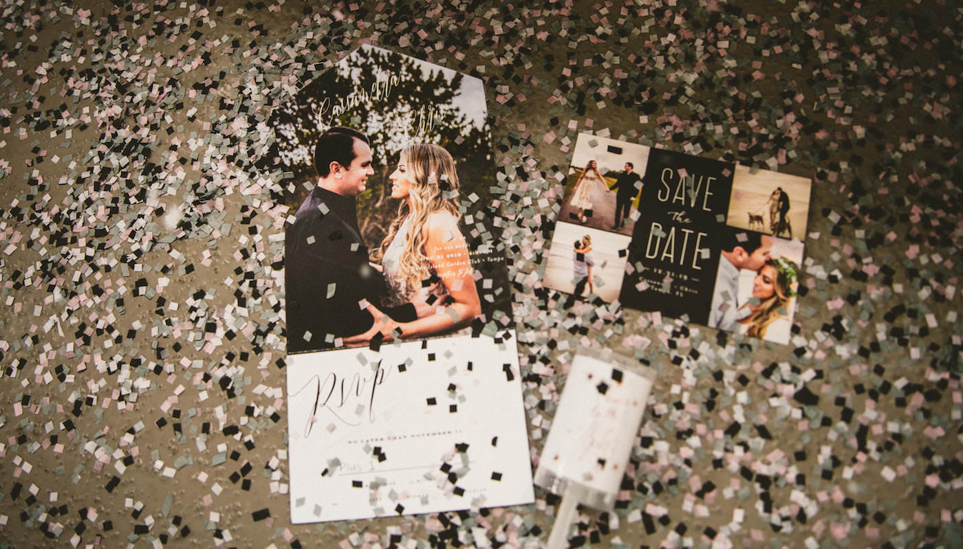 Tampa Wedding All In One Photo Invitation and Save the Date with New Years Eve Confetti