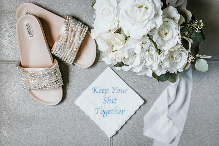 Modern Florida Bridal Details, Custom Embroidered Handkerchief, Badgley Mischka Bridal Pearl Strap Sandal Shoes, White Bridal Bouquet with Roses, Hydrangeas and Greenery Eucalyptus | Tampa Bay Wedding Photographer Bonnie Newman Creative