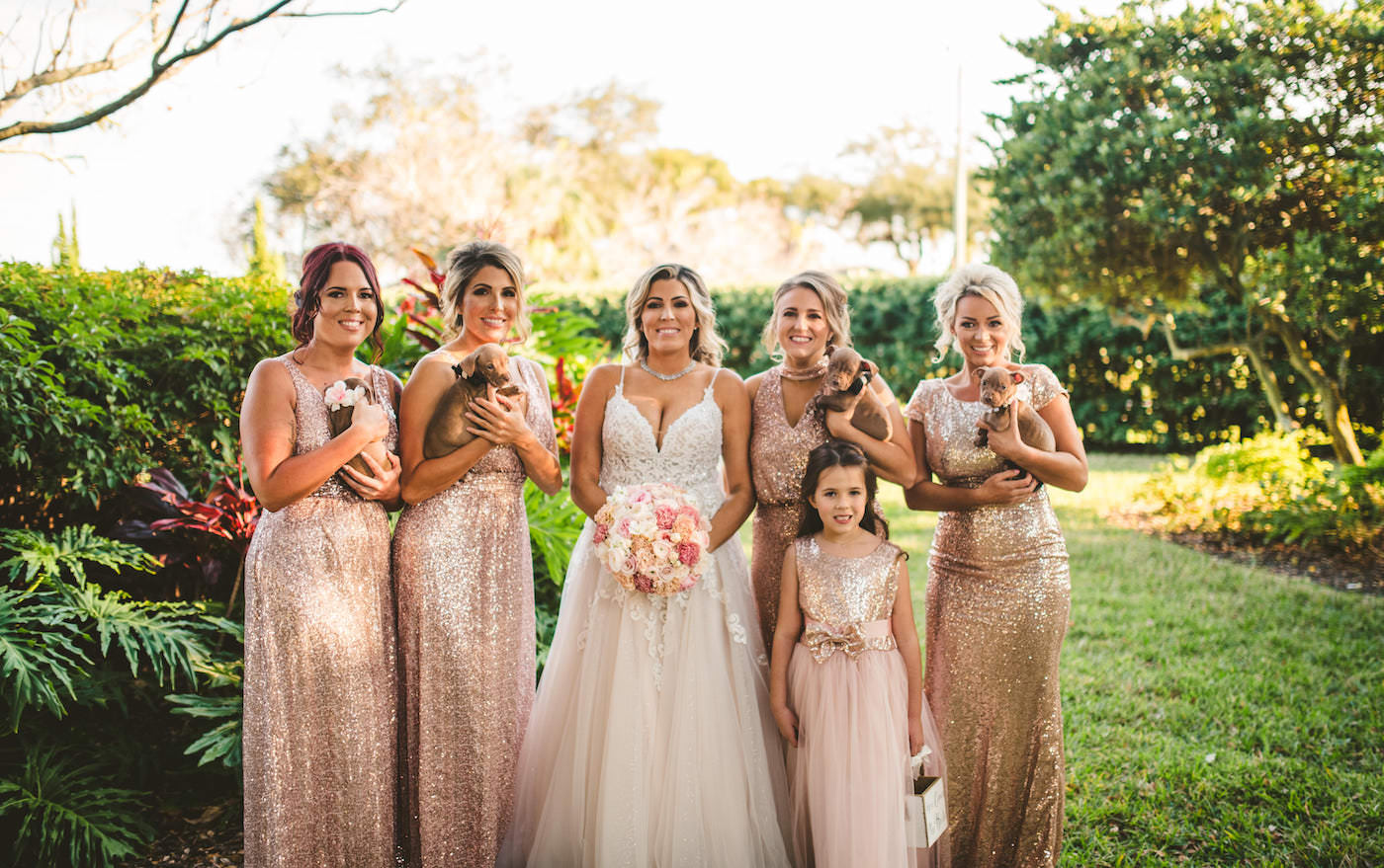 Rose Gold Champagne Metallic Sequin Bridesmaid Dresses | Tampa Wedding with Adoptable Puppies | Puppy Instead of Bridesmaid Bouquet | Champagne Illusion Lace V Neck Spaghetti Strap Wedding Dress Bridal Gown |
