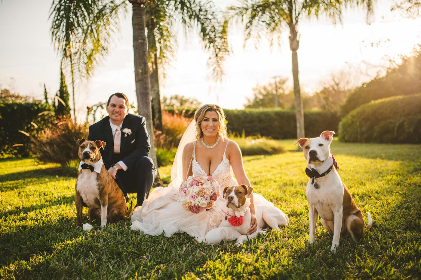 Tampa Outdoor Garden Wedding Bride and Groom Portraits with Pet Dogs of Honor