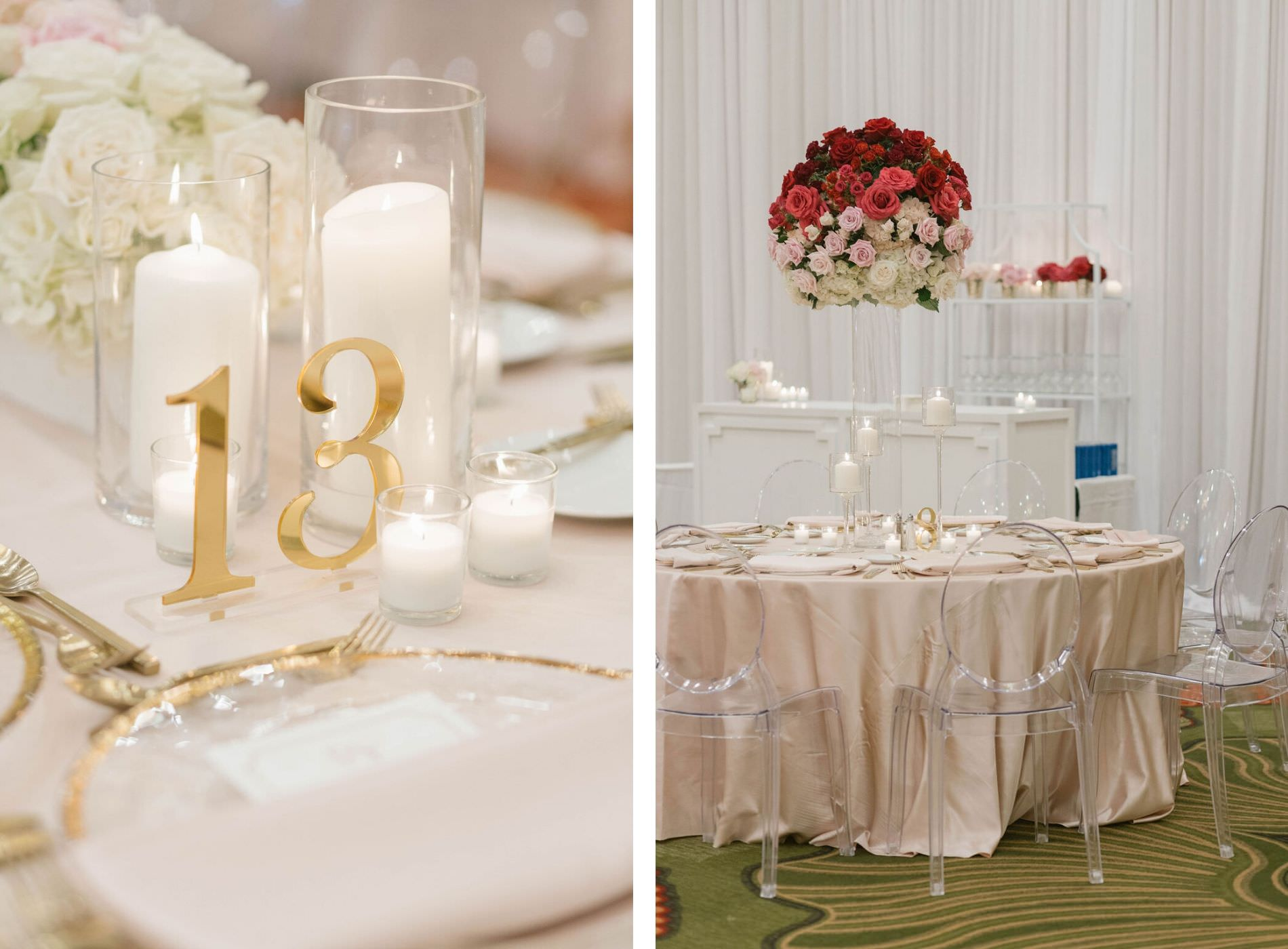 Romantic Ballroom Wedding Reception Decor Gold Acrylic Table Number, Gold Rimmer Chargers and Flatware   Round Table with Light Pink Silk Linens, Ghost Acrylic Chairs, Tall Red, Blush Pink and Ivory Roses Floral Centerpiece   Tampa Bay Wedding Planner Parties A'la Carte   St. Petersburg Wedding Florist Bruce Wayne Florals   Wedding Rentals A Chair Affair   Draping Gabro Event Services   Lines Over the Top Rental Linens   St. Petersburg Hotel Wedding Venue The Vinoy Renaissance