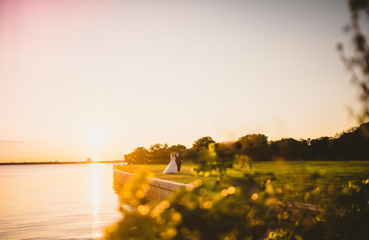 Tampa Waterfront Wedding Bride and Groom Sunset Portraits at Davis Islands