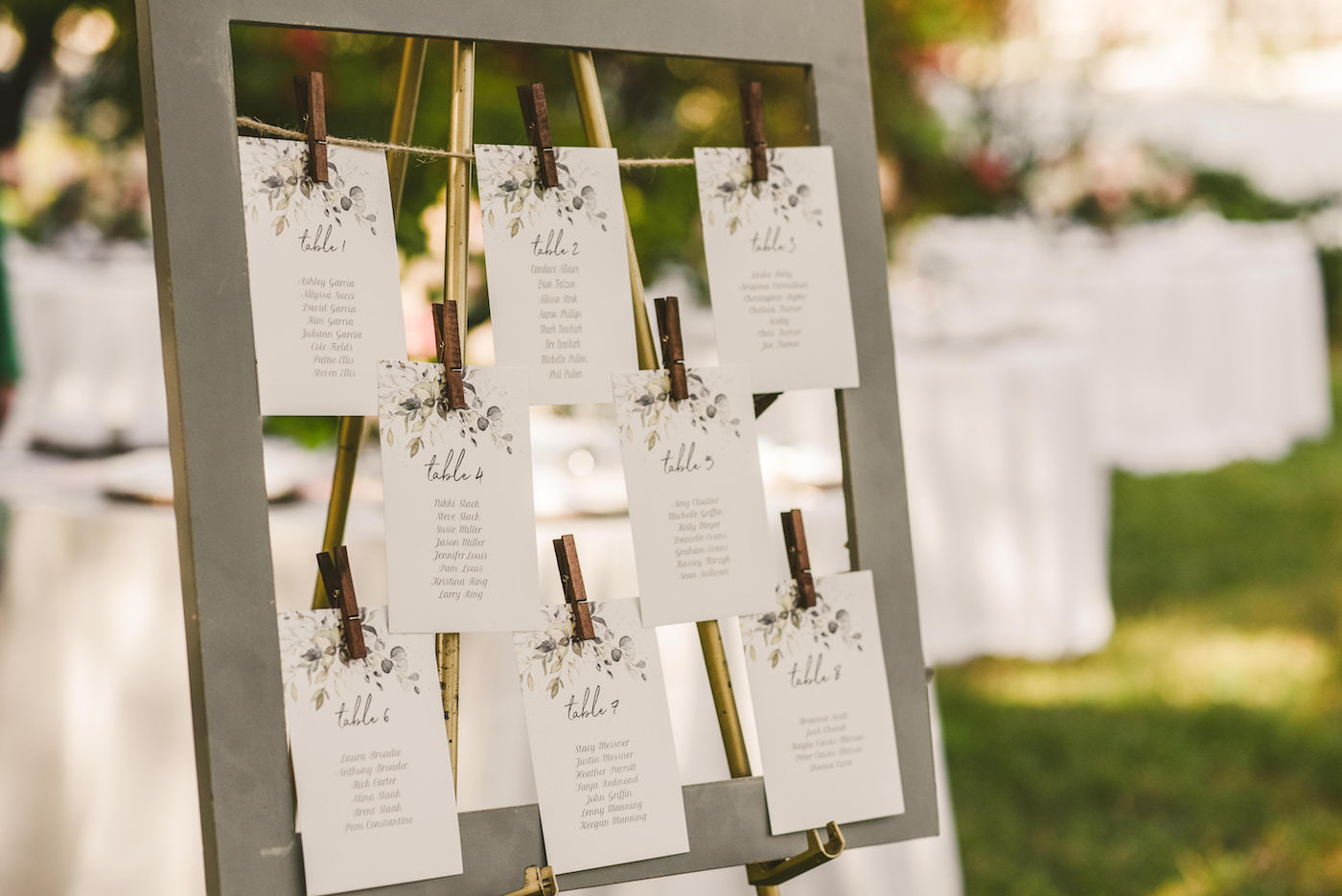 Tampa Outdoor Garden Wedding Reception Seating Chart Frame with Clothespins and Greenery Watercolor Motif