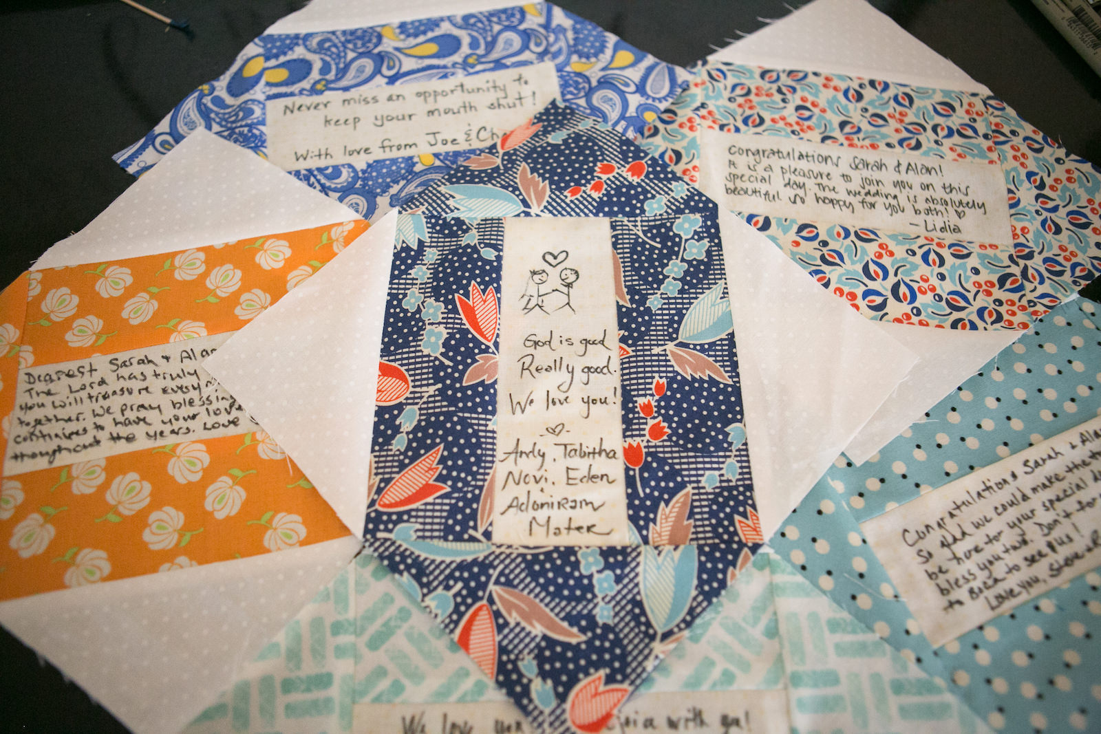 Personalized Colorful Patterned Fabric Squares | Wedding Photographer Carrie Wildes Photography