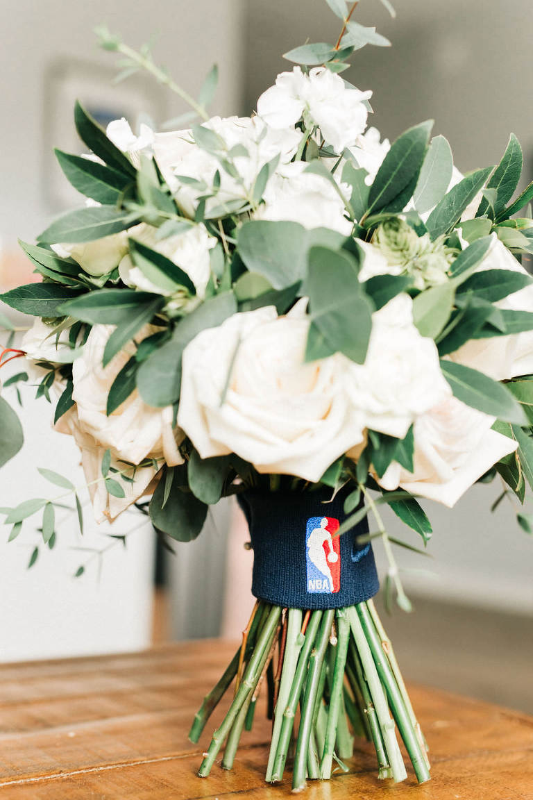 Elegant Florida Wedding Bouquet with White Roses, Ivory Florals and Greenery, Custom NBA Detail Wristband