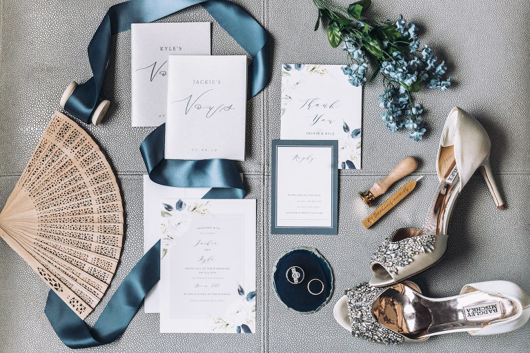 Modern Florida Bridal Details, Floral Inspired Wedding Invitation with Dark Blue Flowers, Custom Vow Books, Badgley Mischka Rhonestone Peep Toe Bridal Shoes, Wooden Hand Fan | Tampa Bay Wedding Photographer Bonnie Newman Creative