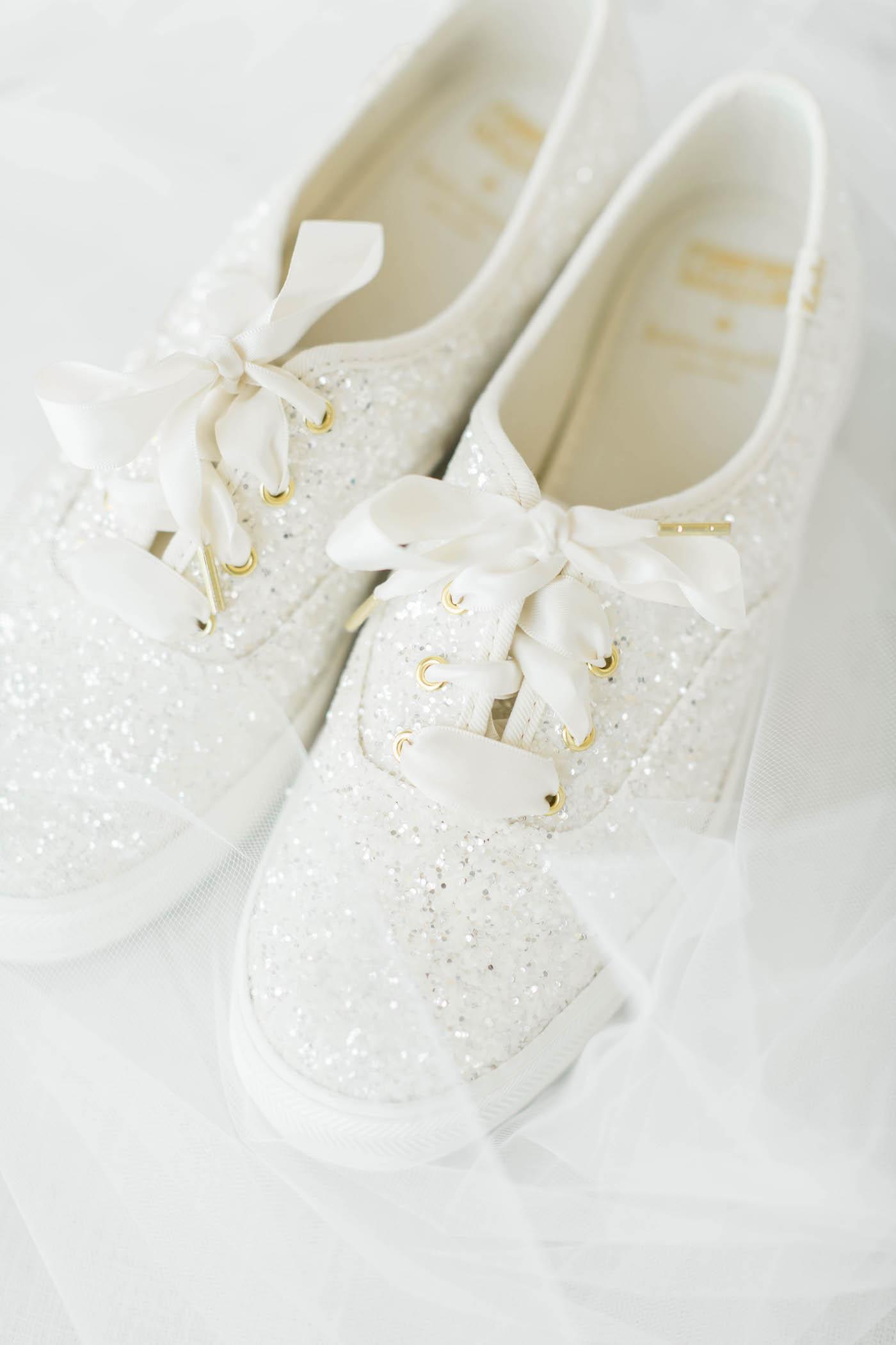 White Sparkle Kate Spade Keds Bridal Wedding Shoes