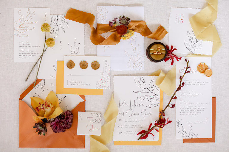 Vintage Bohemian Inspired Wedding Invitation Suite, Burnt Orange Envelope, White and Black Invitation, Warm Autumn Colors, Gold Wax Seal RSVP, Floral Accents | Tampa Bay Wedding Planner: Blue Skies Weddings and Events | Downtown St. Petersburg Wedding Photographer Lifelong Photography Studio