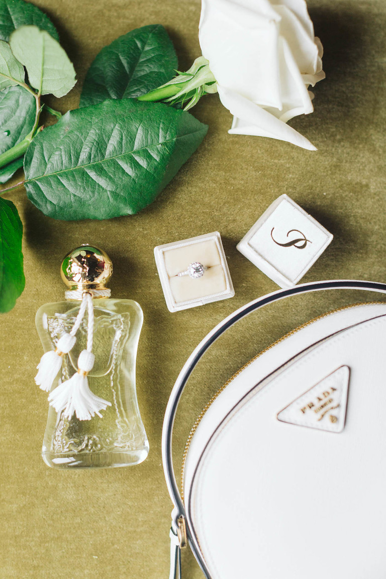 Classic Florida Wedding Details, White Prada Purse, Diamond Engagement Ring with Ring Box, Vintage Perfume Bottle | Tampa Bay Wedding Planner Parties A'la Carte