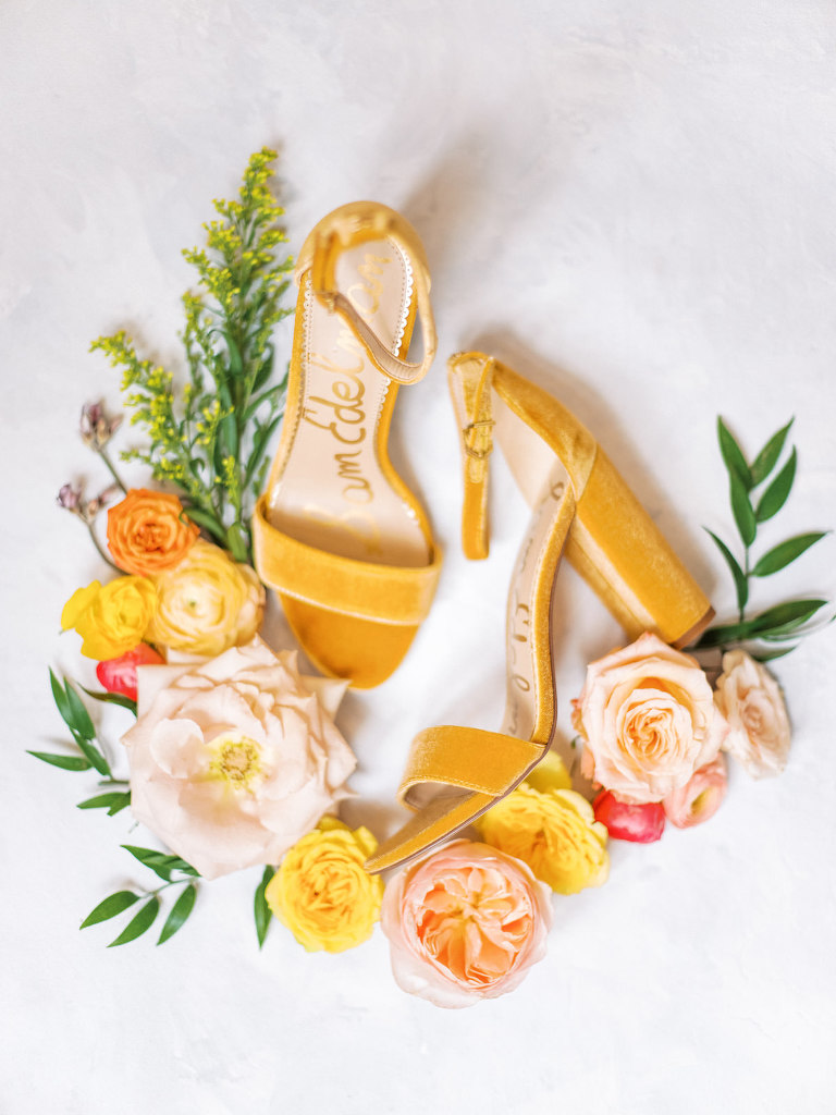 Elegant, Springtime Inspired Bridal Getting Ready Details, Mustard Open Toe Sam Edelman Velvet Yaro Block Heel Sandals, Romantic Bridal Bouquet with Vibrant Floral Stems, Pink Roses, Peach Carnations, Yellow Flowers | Florida Wedding Planner Kelly Kennedy Weddings and Events