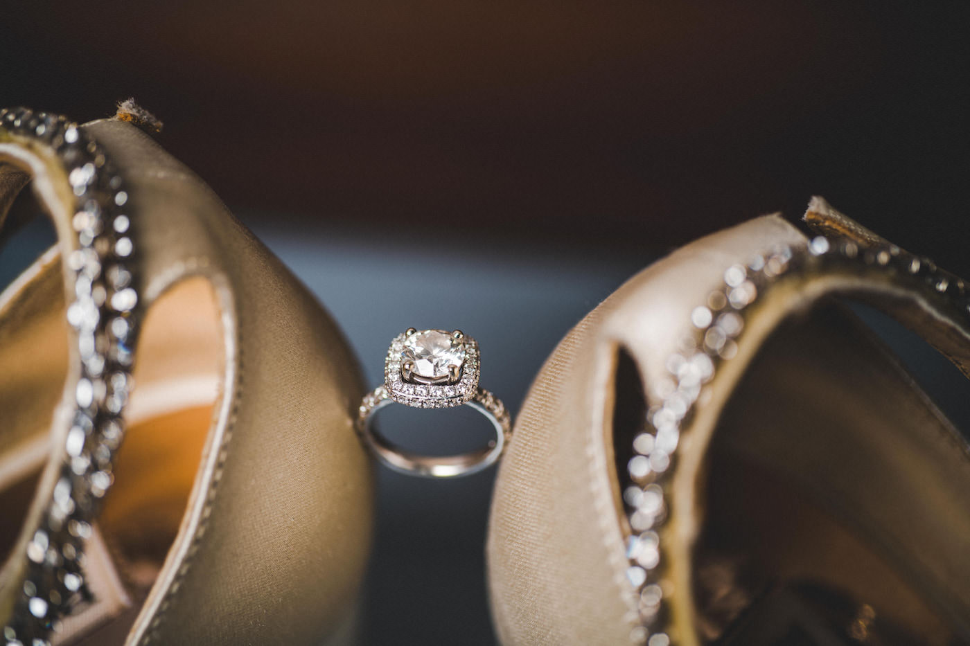 Engagement Ring With Diamond Band and Halo with Round Solitaire Diamond | Wedding Engagement Ring Shot