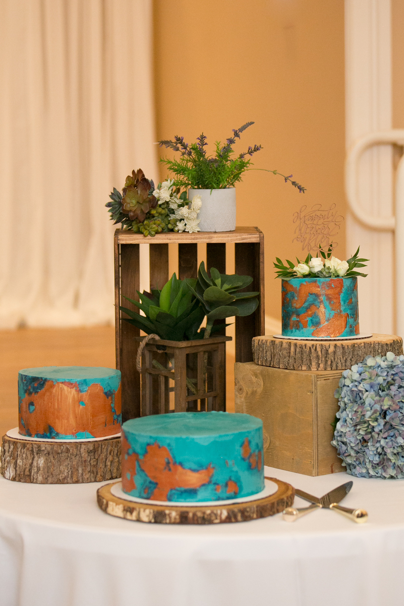 Unique Wedding Cakes, Three Separate One Tier Blue Teal and Copper Painted Wedding Cakes on Rustic Wood Stands, Succulents Decor | Wedding Photographer Carrie Wildes Photography