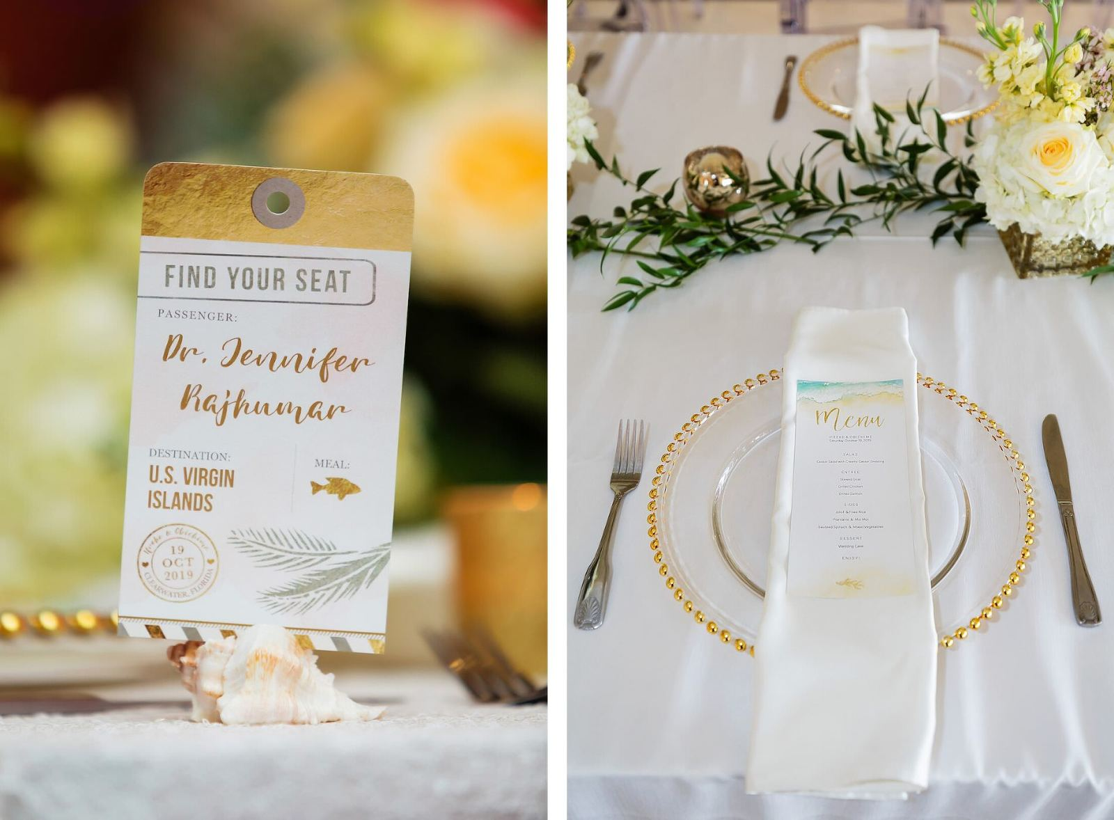 Travel Themed Wedding Reception Decor, Custom Airplane Ticket Seating Cards, Gold Beaded Chargers, White Linens, Custom Dinner Menu | Tampa Bay Wedding Planner Special Moments Event Planning | Wedding Rentals Gabro Event Services