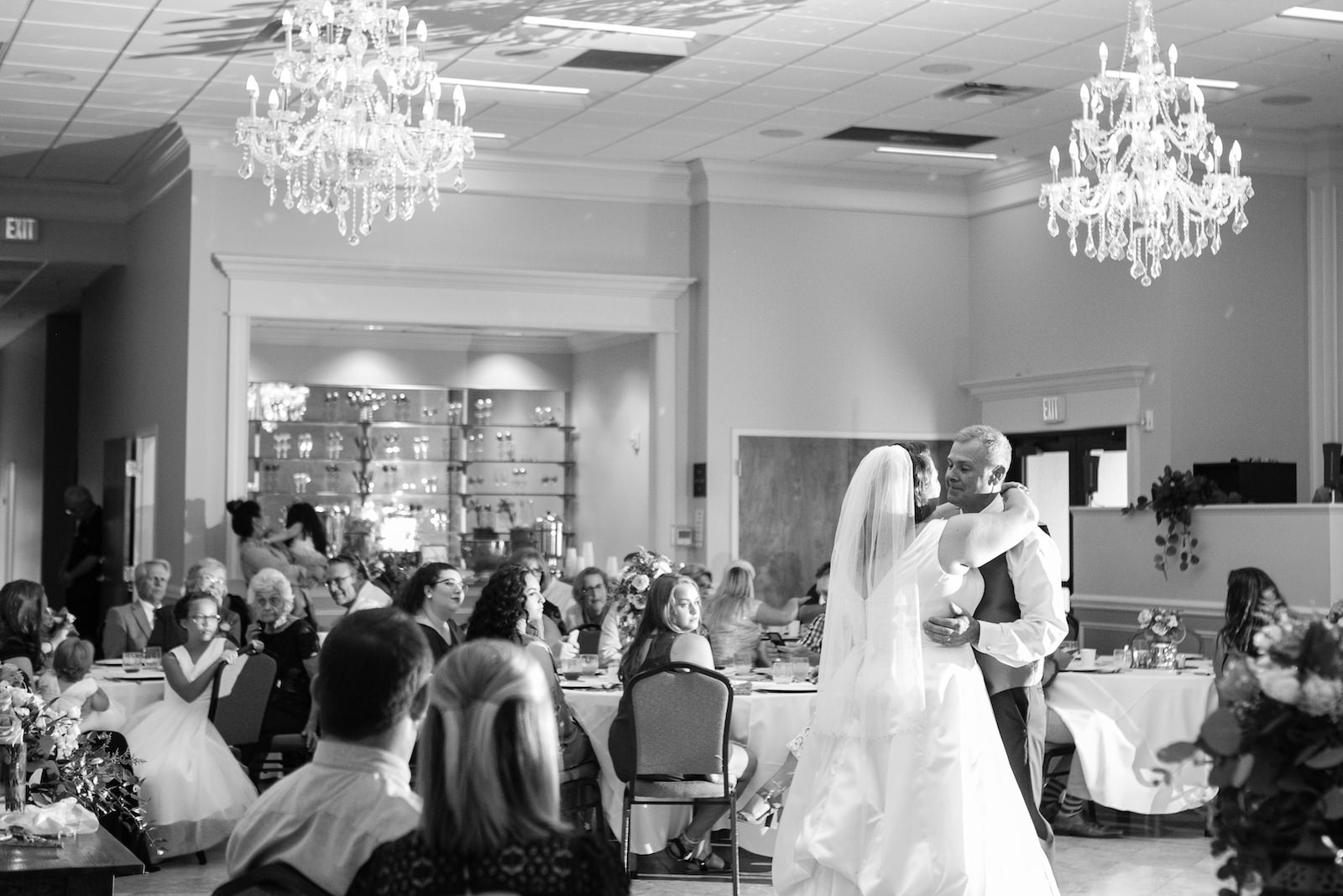 Black and White Bride and Groom First Dance Wedding Reception Portrait | Wedding Photographer Carrie Wildes Photography | Wedding Dress Truly Forever Bridal | Pinellas Park Wedding Venue Shahnasarian Hall