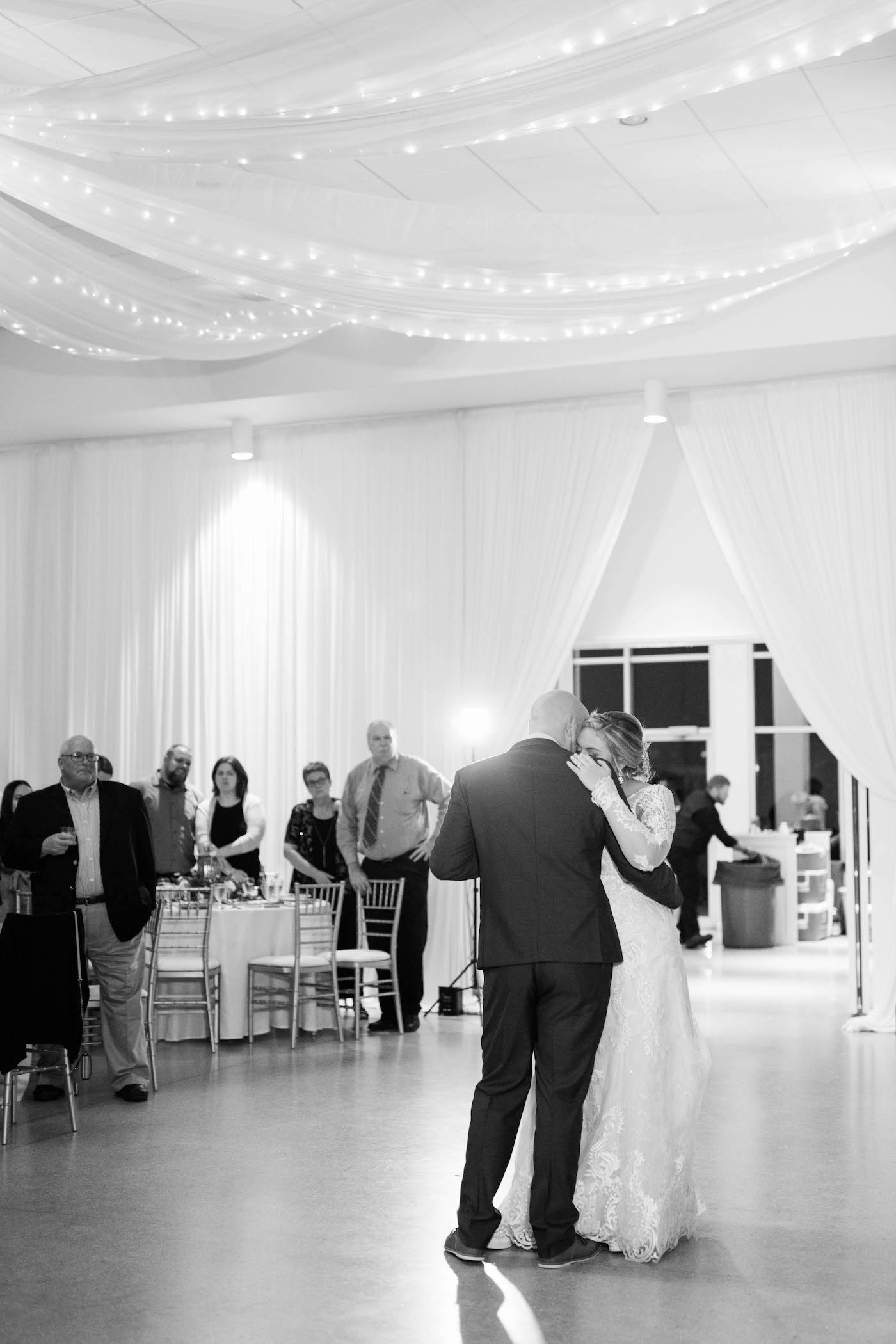 Bride and Groom First Dance Photo   Black and White Photography Wedding Portrait   Tampa Wedding Venue the Tampa Garden Club