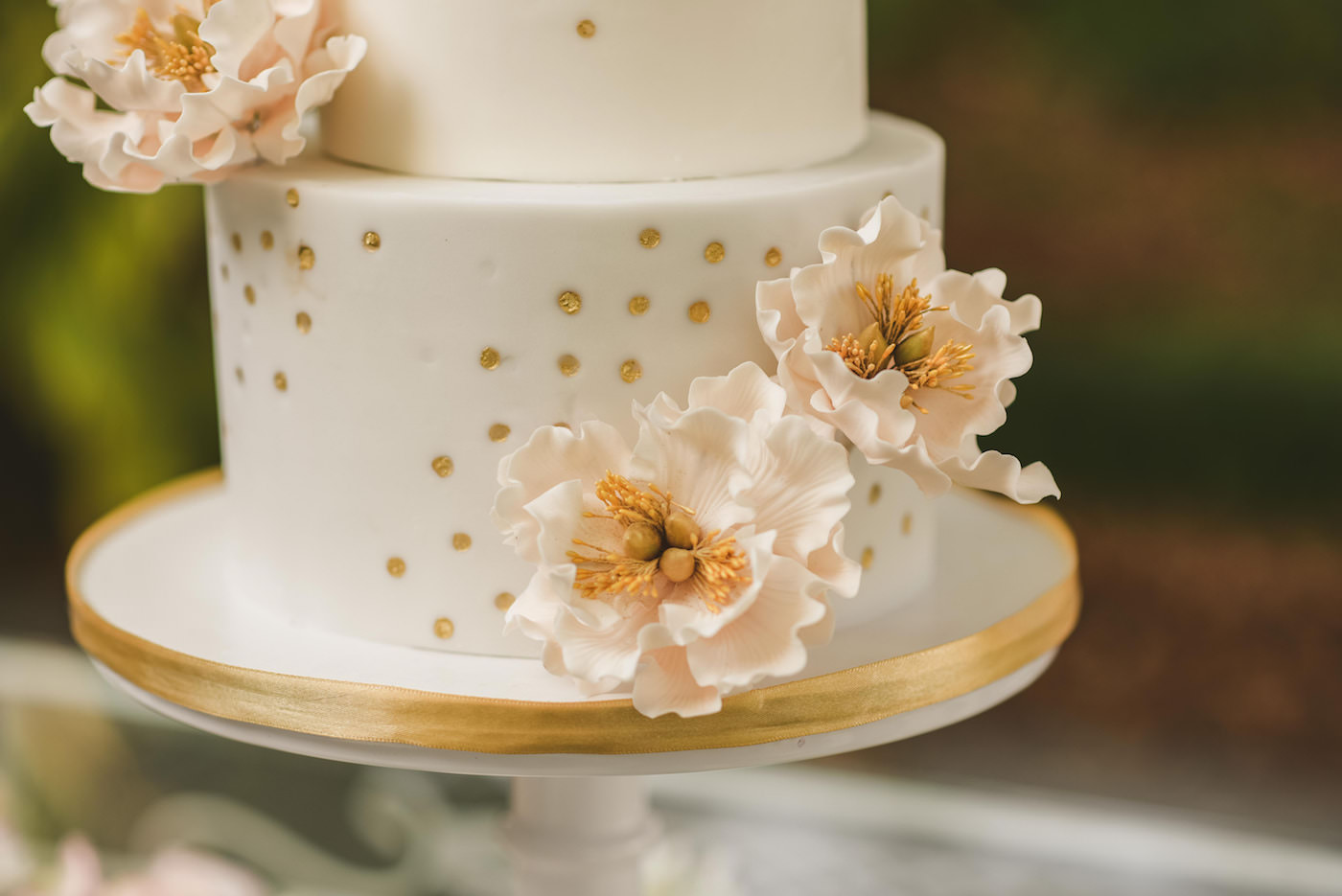 Tampa Bay Cake Company Three Tier Wedding Cake with Rose Gold Polka Dots and Blush Pink Sugar Flower Peonies