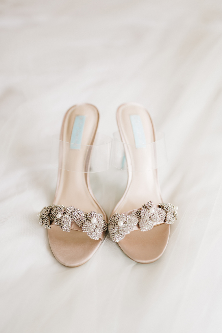 Florida Wedding Details, Betsey Johnson Bridal Shoes, Floral Crystal Floral Embellishment, Clear Strap Open Toe Heels | Tampa Bay Wedding Planner Parties A' La Carte