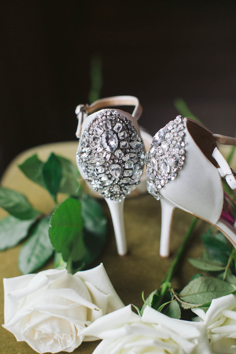 Timeless Florida Wedding and Bridal Shoes, White High Heels with Crystal Embellishments on Heel, Badgley Mischka Inspired Bride Shoes